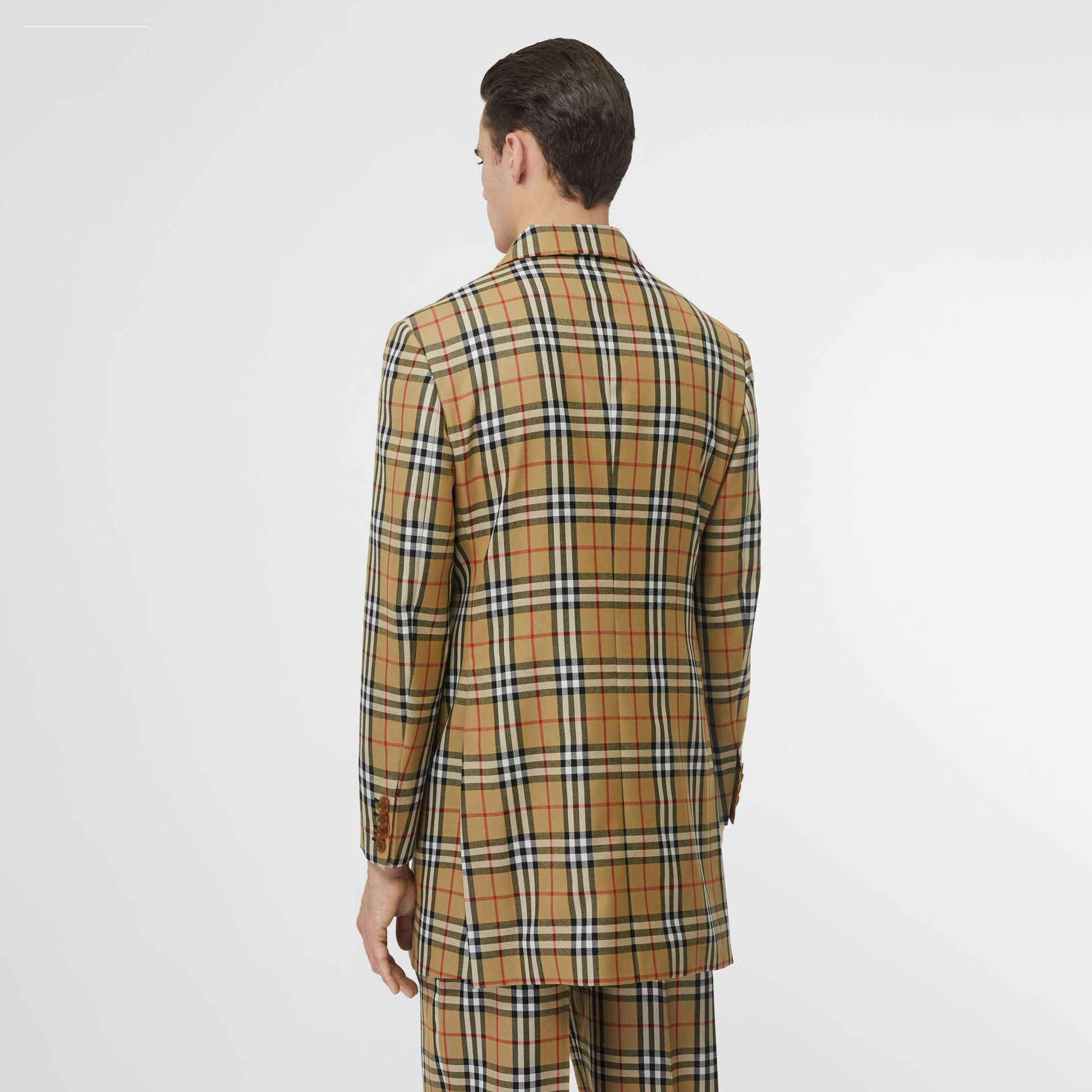 Vintage Check Wool Double-breasted Jacket in Antique Yellow | Burberry Australia - gallery image 2