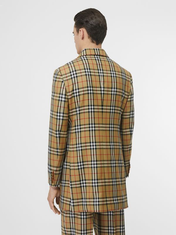 Vintage Check Wool Double-breasted Jacket in Antique Yellow | Burberry Hong Kong S.A.R - cell image 2