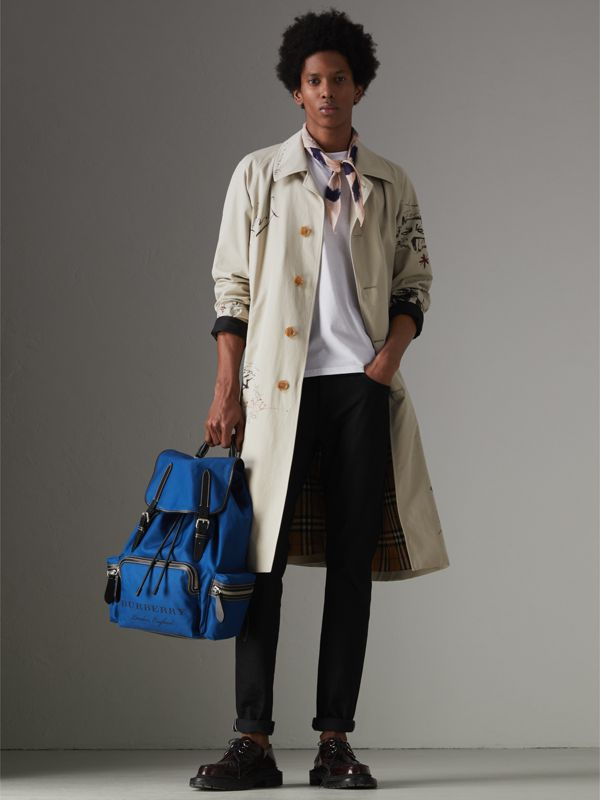 The Large Rucksack in Cotton Canvas in Bright  Blue - Men | Burberry - cell image 3