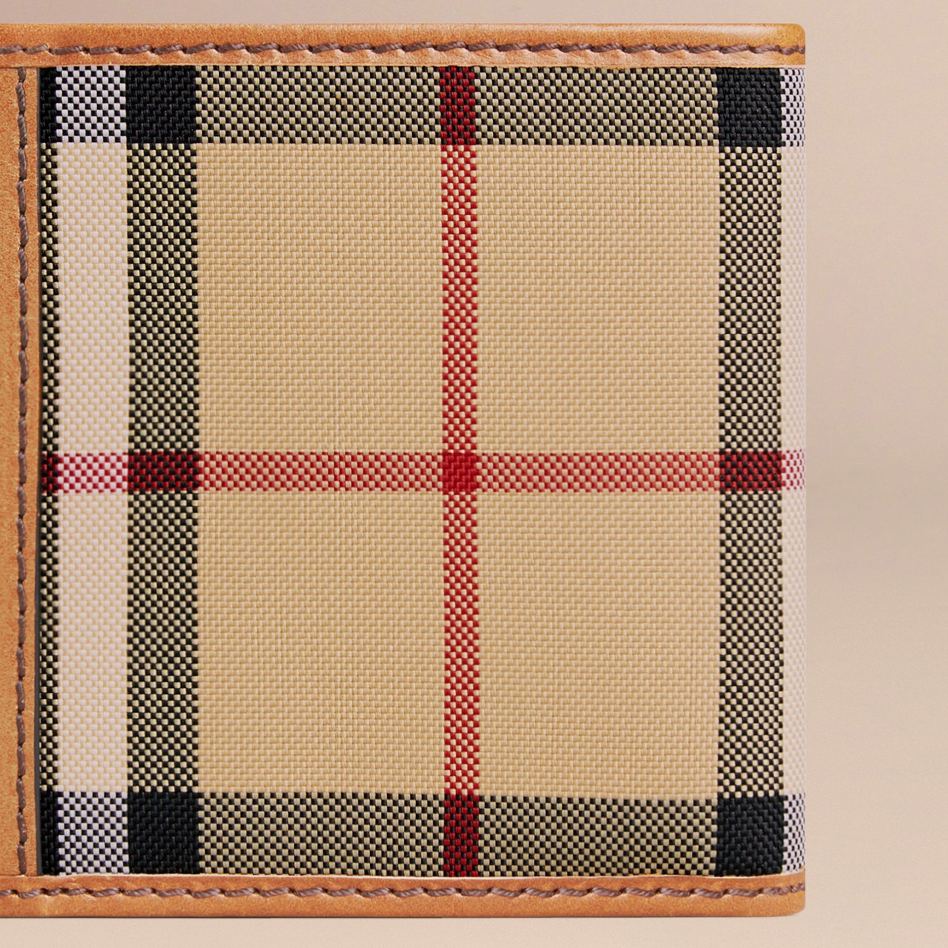 Horseferry Check Folding Coin Wallet Tan - gallery image 2