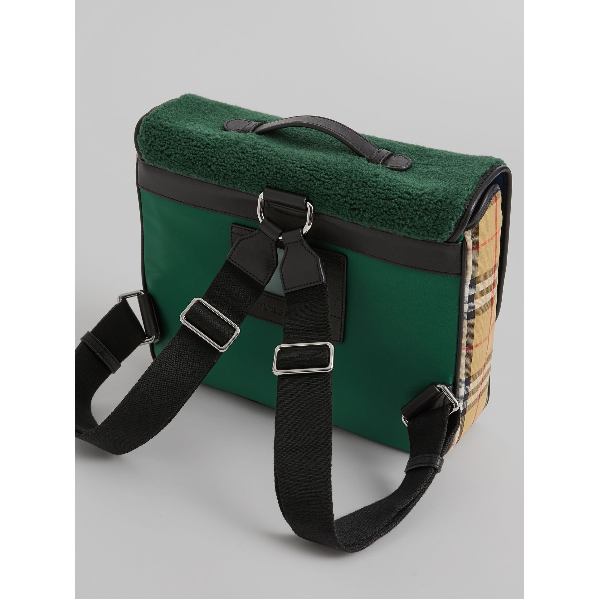Monster Faux Shearling and Vintage Check Satchel in Pine Green | Burberry United Kingdom - gallery image 2