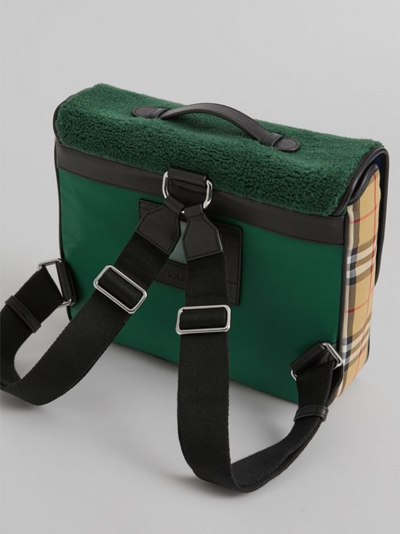 Monster Faux Shearling and Vintage Check Satchel in Pine Green | Burberry United Kingdom - cell image 2