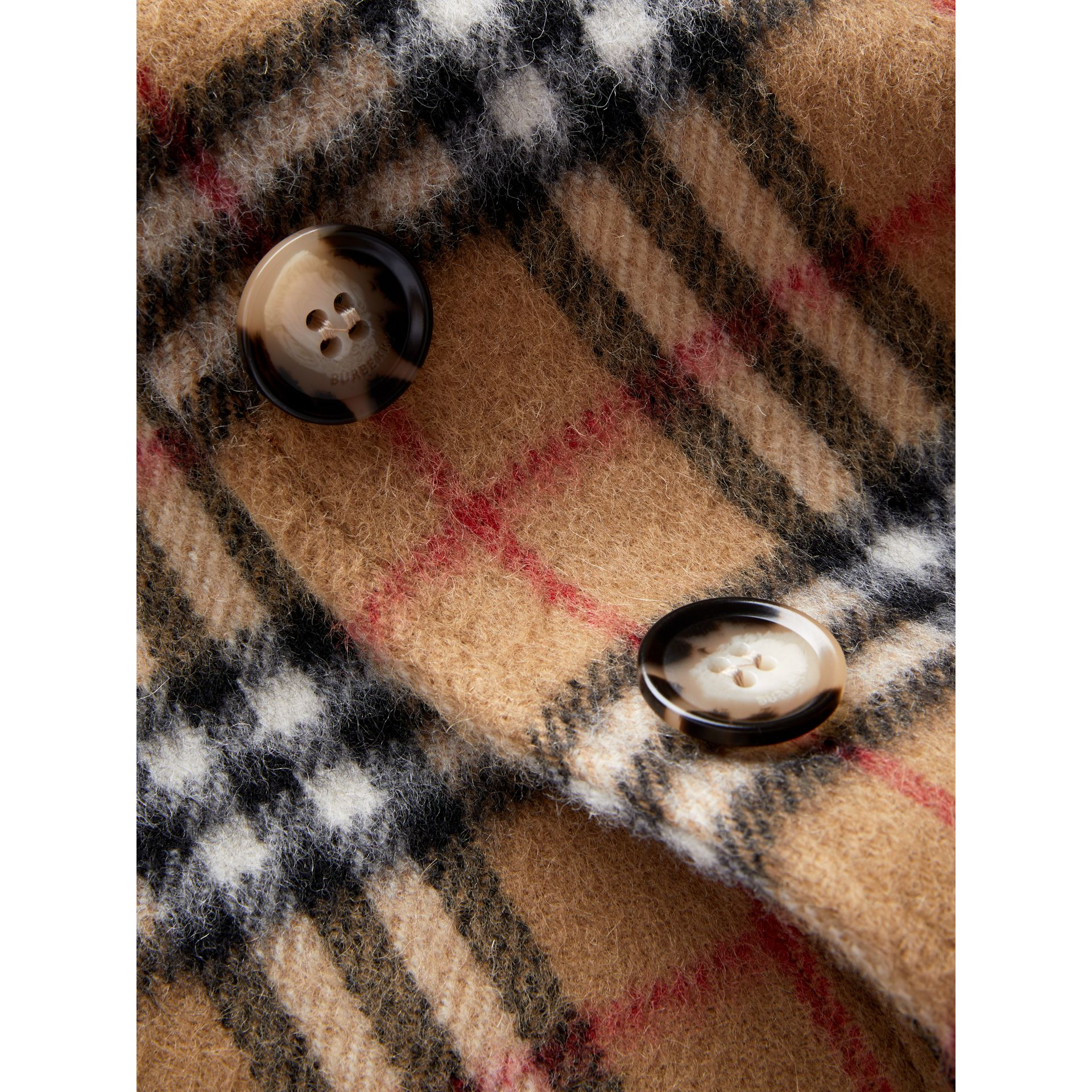 Vintage Check Alpaca Wool Blend Car Coat in Antique Yellow - Girl | Burberry - gallery image 1