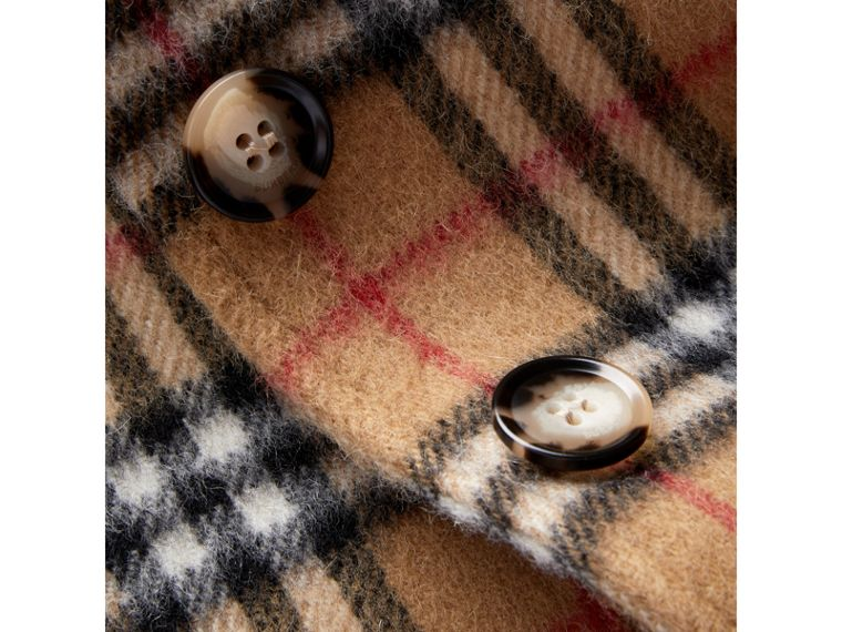 Vintage Check Alpaca Wool Blend Car Coat in Antique Yellow - Girl | Burberry - cell image 1