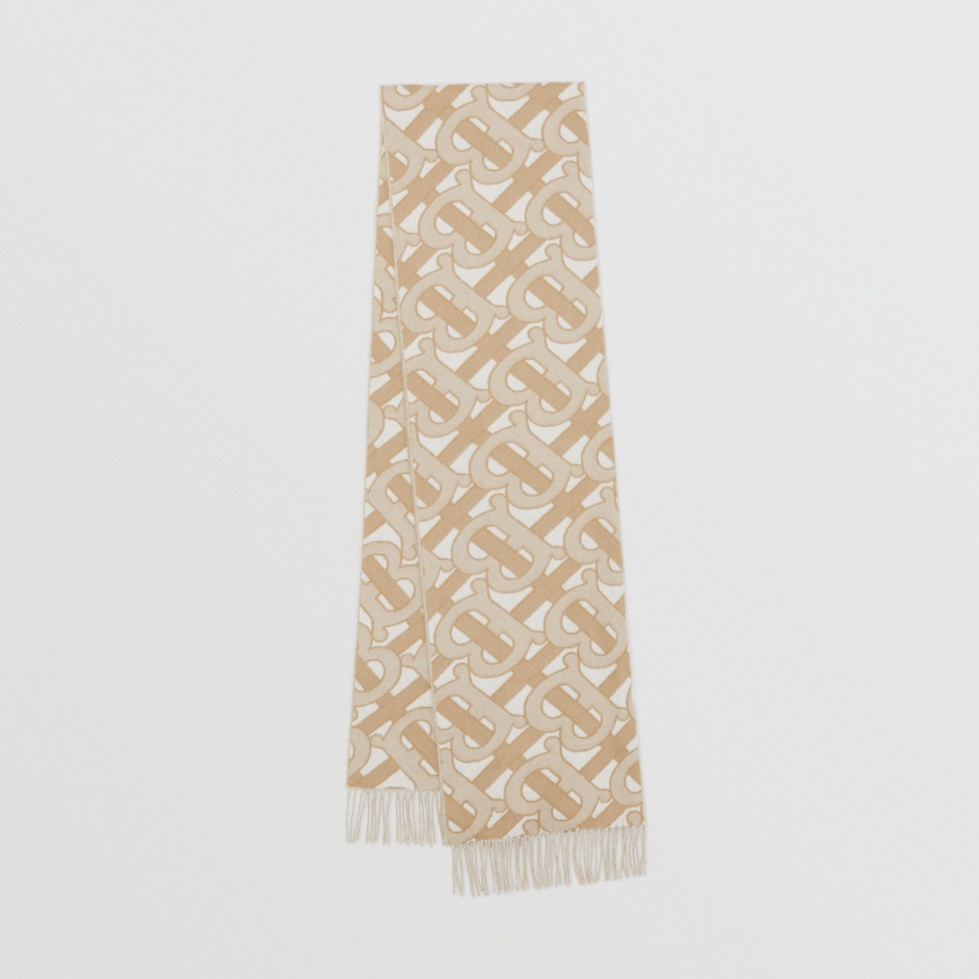 Monogram Cashmere Jacquard Scarf in Light Sand | Burberry - gallery image 0