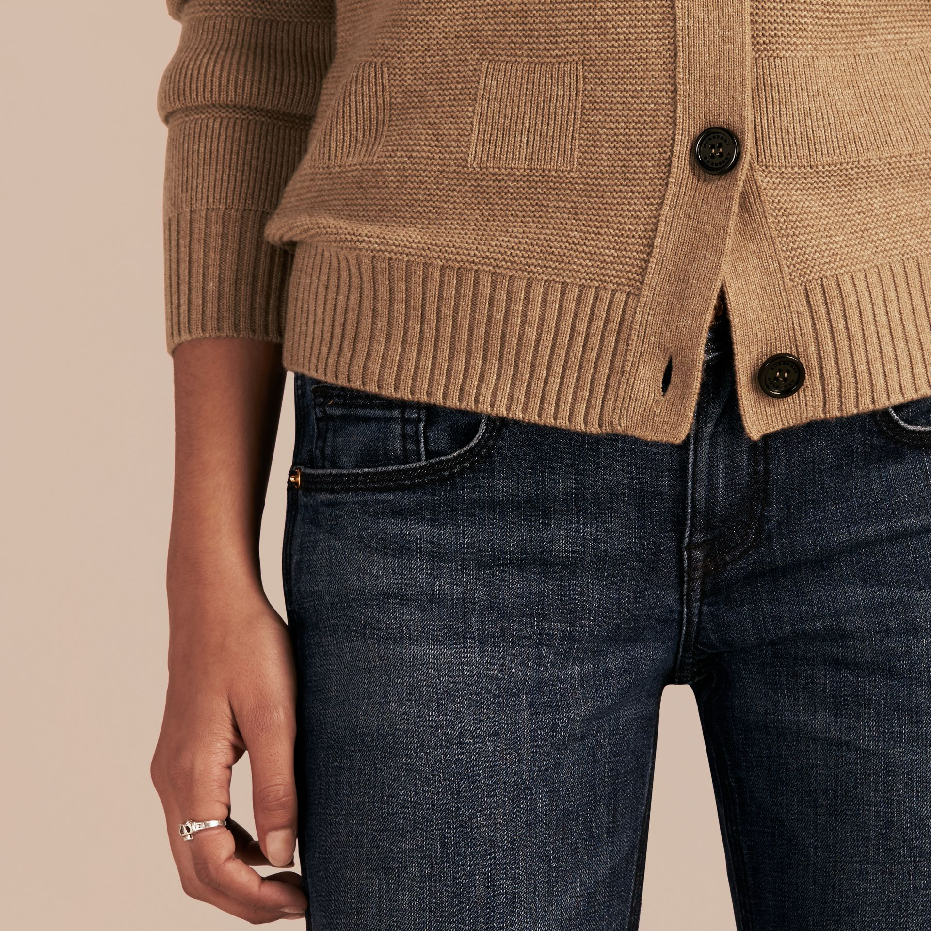 Check-knit Wool Cashmere Cardigan in Camel - gallery image 5