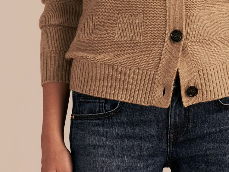 Check-knit Wool Cashmere Cardigan in Camel - cell image 4