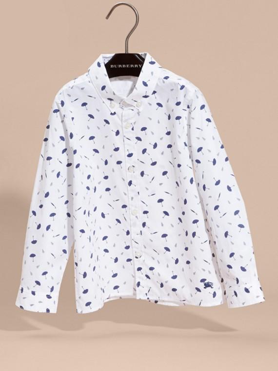 Umbrella Motif Cotton Button-down Collar Shirt - cell image 2