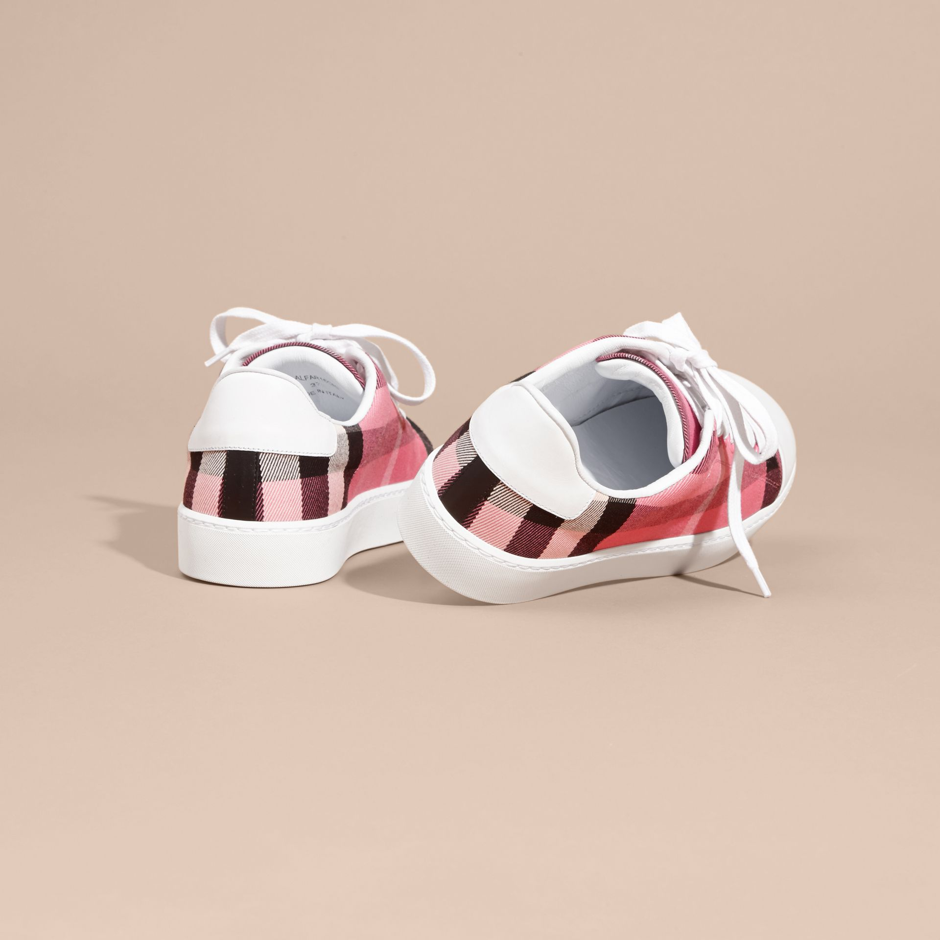 Check and Leather Trainers Rose Pink - gallery image 4