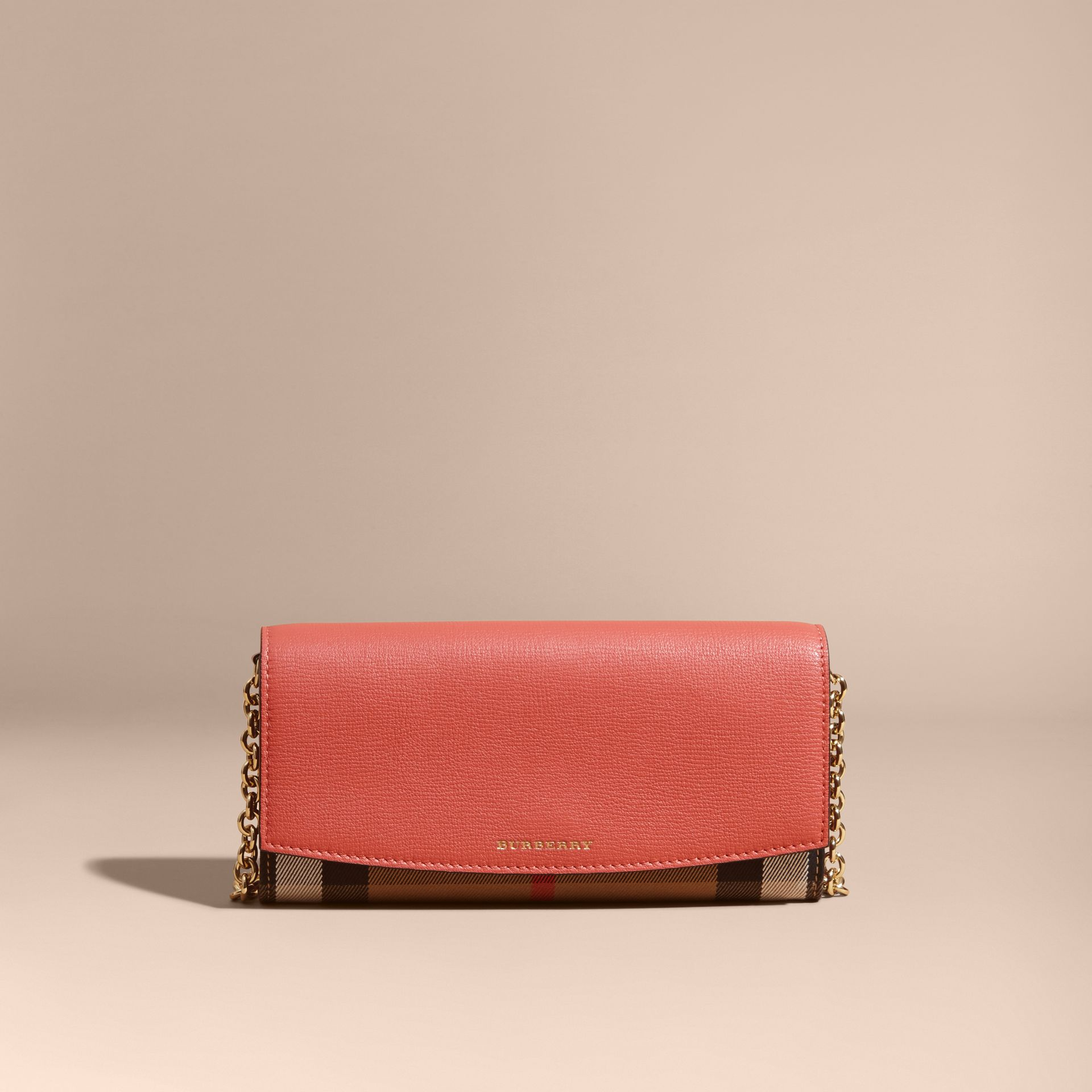 House Check and Leather Wallet with Chain in Cinnamon Red - Women | Burberry - gallery image 8