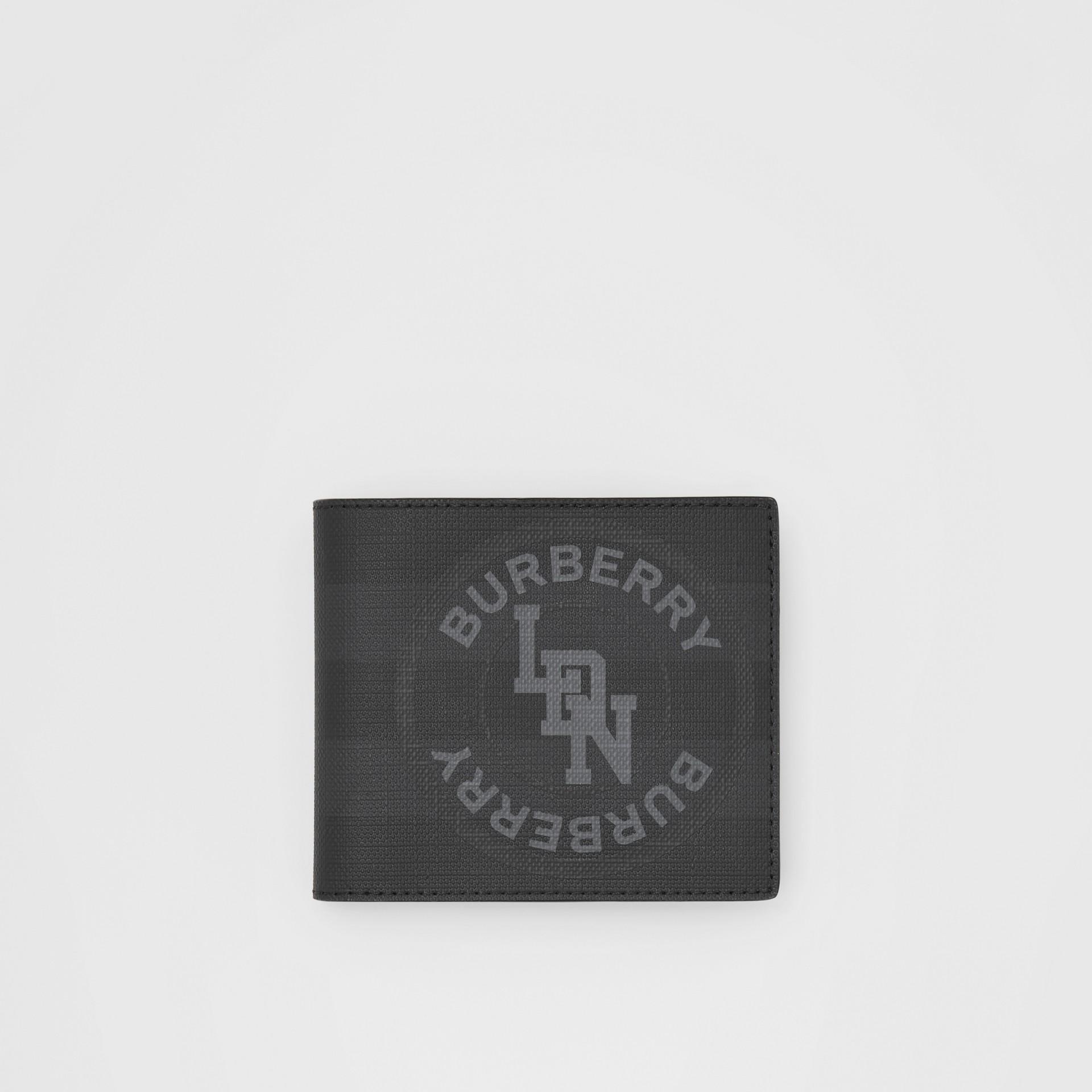Portefeuille à rabat multidevise London check avec logo (Anthracite Sombre) - Homme | Burberry - photo de la galerie 0