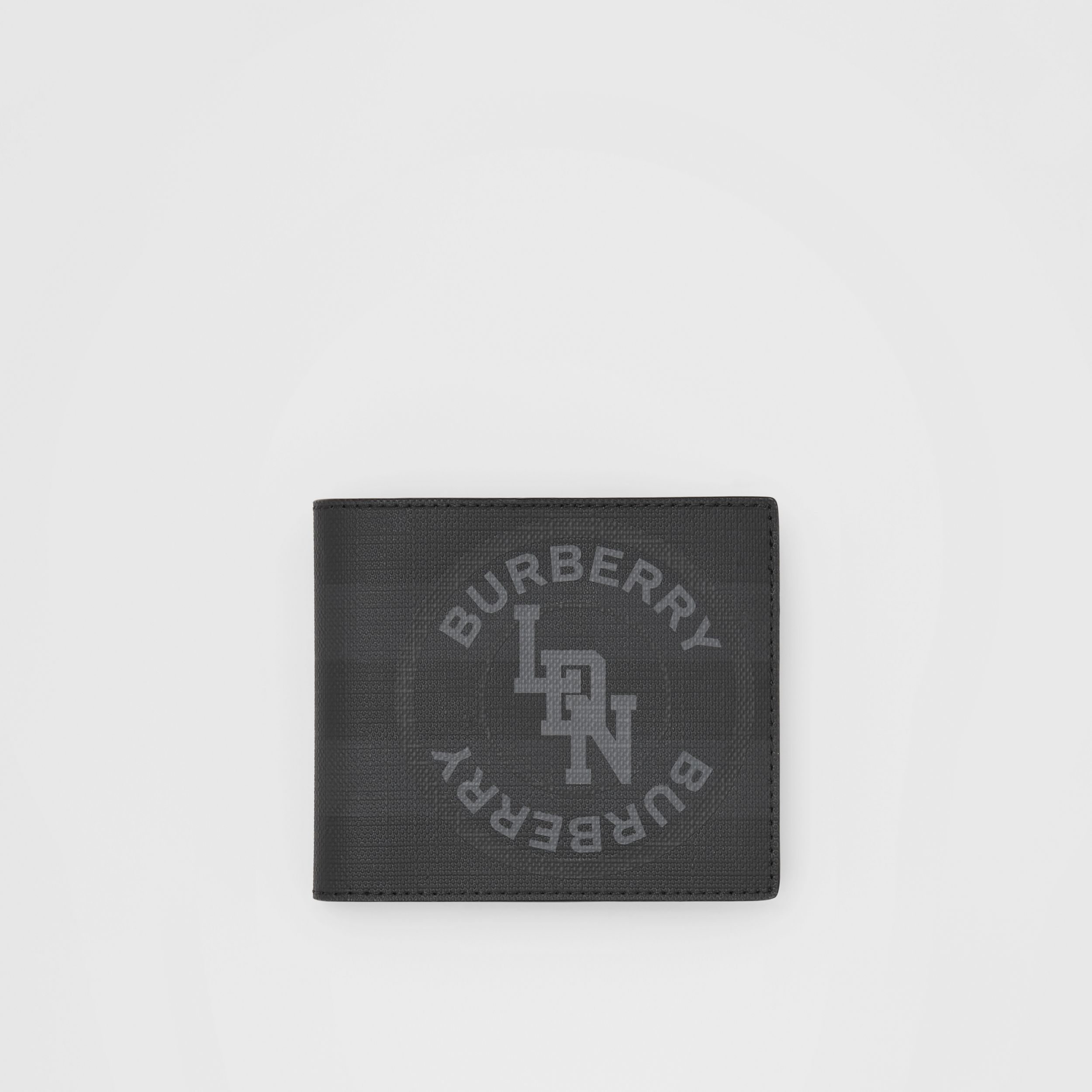 Logo Graphic London Check International Bifold Wallet in Dark Charcoal - Men | Burberry United Kingdom - 1