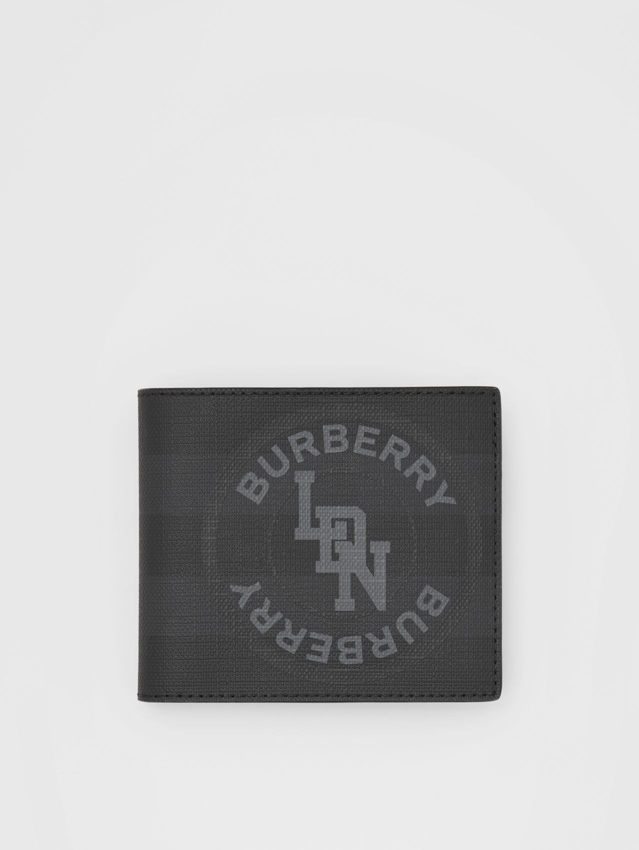 Logo Graphic London Check International Bifold Wallet in Dark Charcoal