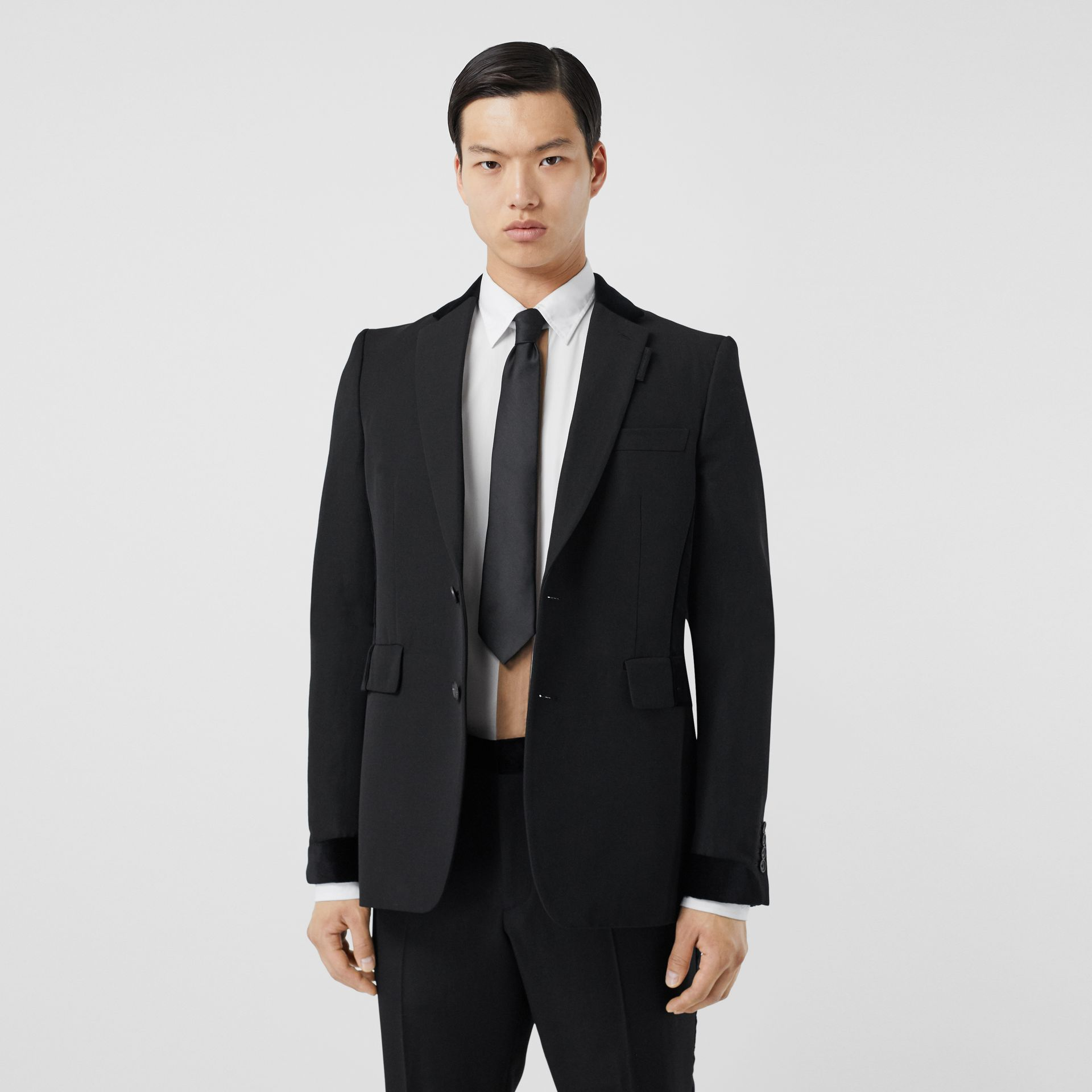 Classic Fit Velvet Trim Wool Tailored Jacket in Black - Men | Burberry Australia - gallery image 0