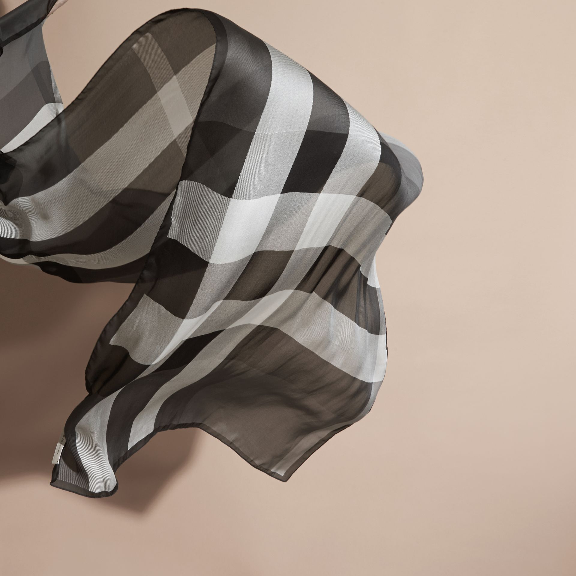 Mid grey Lightweight Check Silk Scarf Mid Grey - gallery image 4