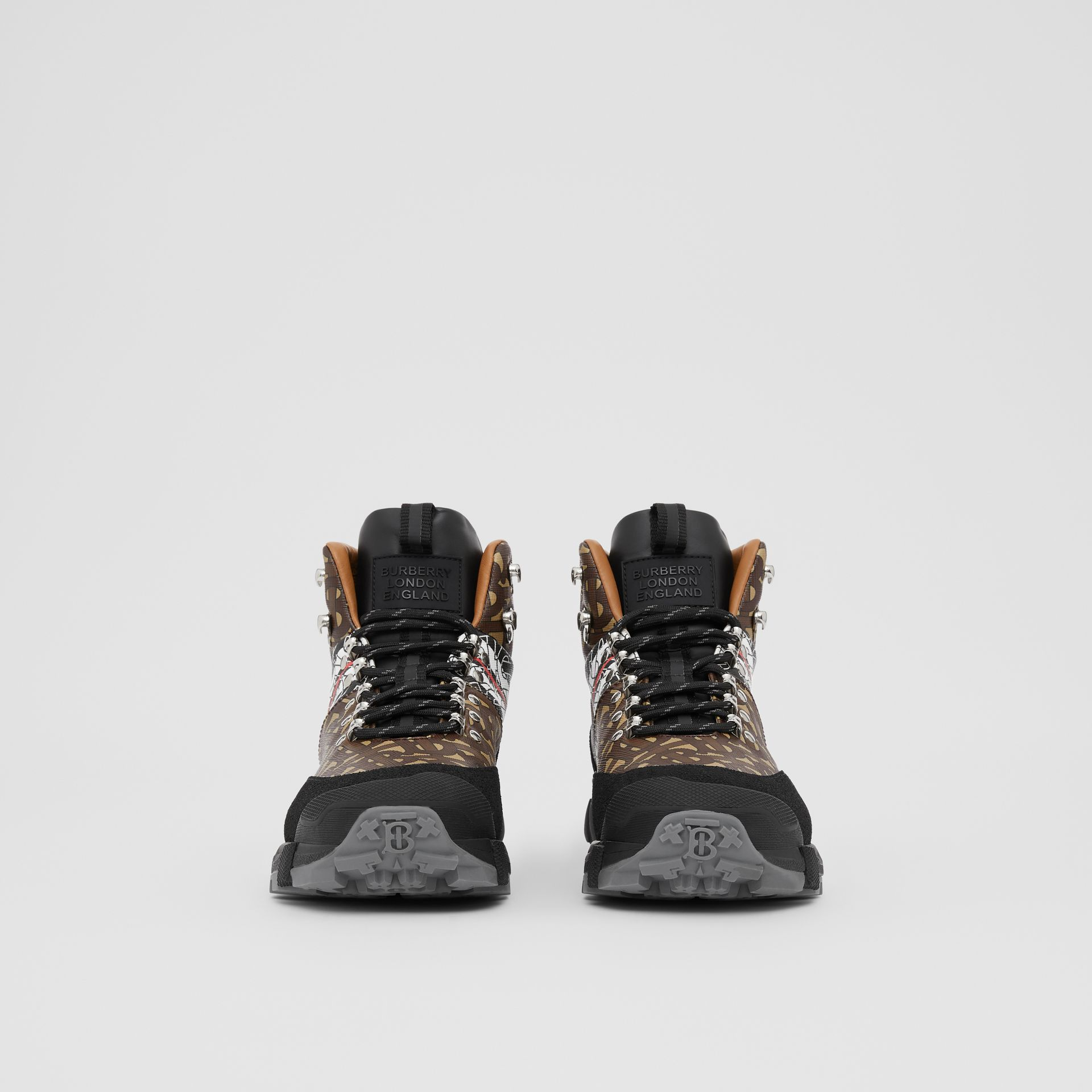 Monogram Stripe E-canvas Tor Boots in Black/brown - Men | Burberry United Kingdom - gallery image 3