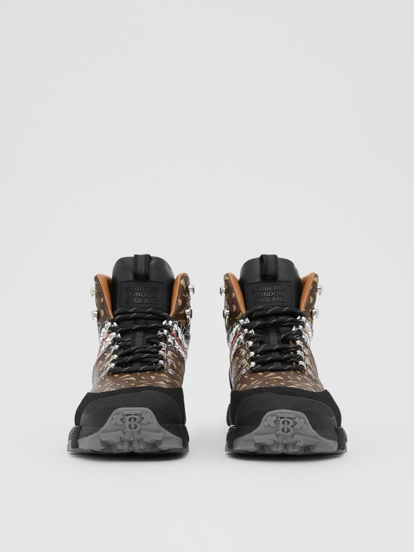 Monogram Stripe E-canvas Tor Boots in Black/brown - Men | Burberry - cell image 3