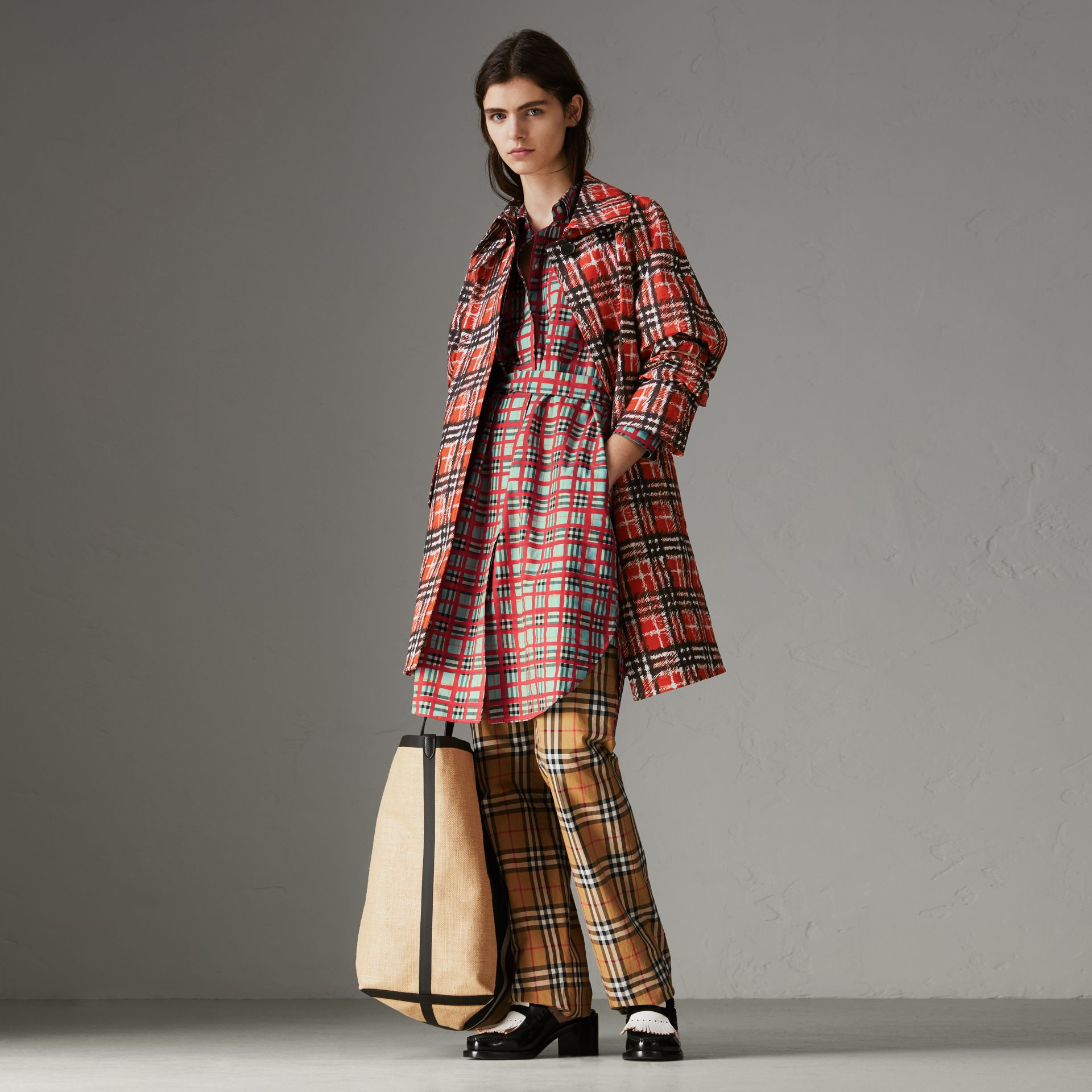 Painted Check Cotton Tie-waist Shirt Dress in Bright Aqua - Women | Burberry Singapore - gallery image 0