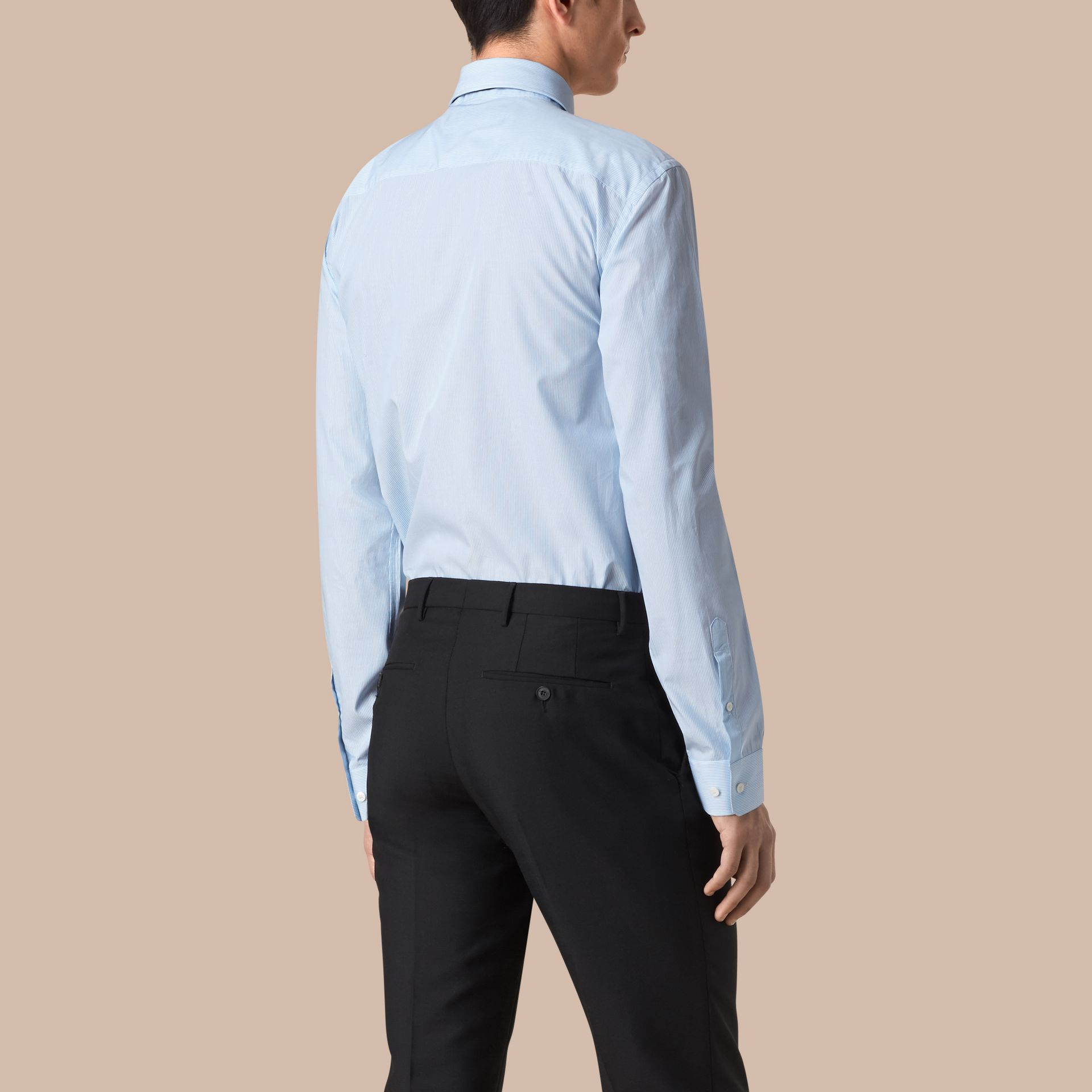 City blue Modern Fit Striped Cotton Poplin Shirt City Blue - gallery image 3