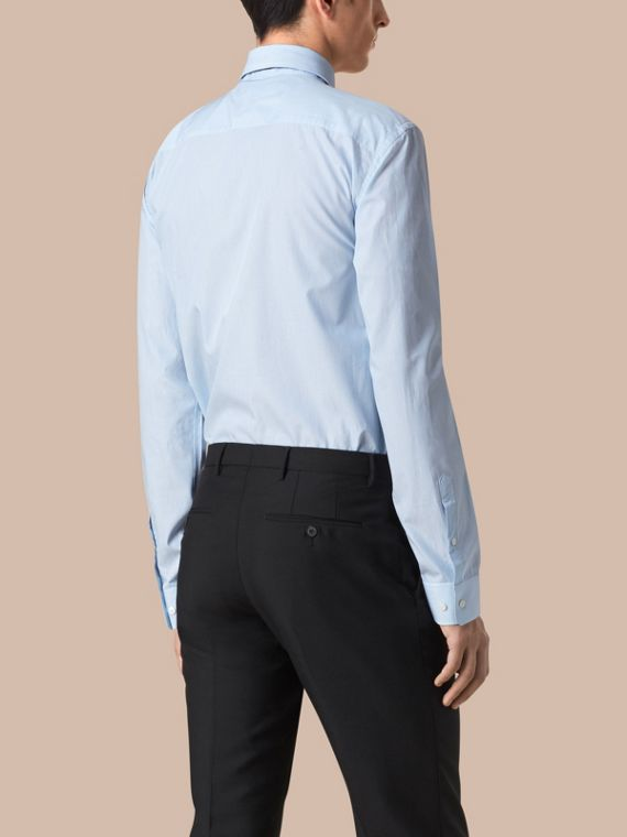 Modern Fit Striped Cotton Poplin Shirt in City Blue - Men | Burberry Australia - cell image 3