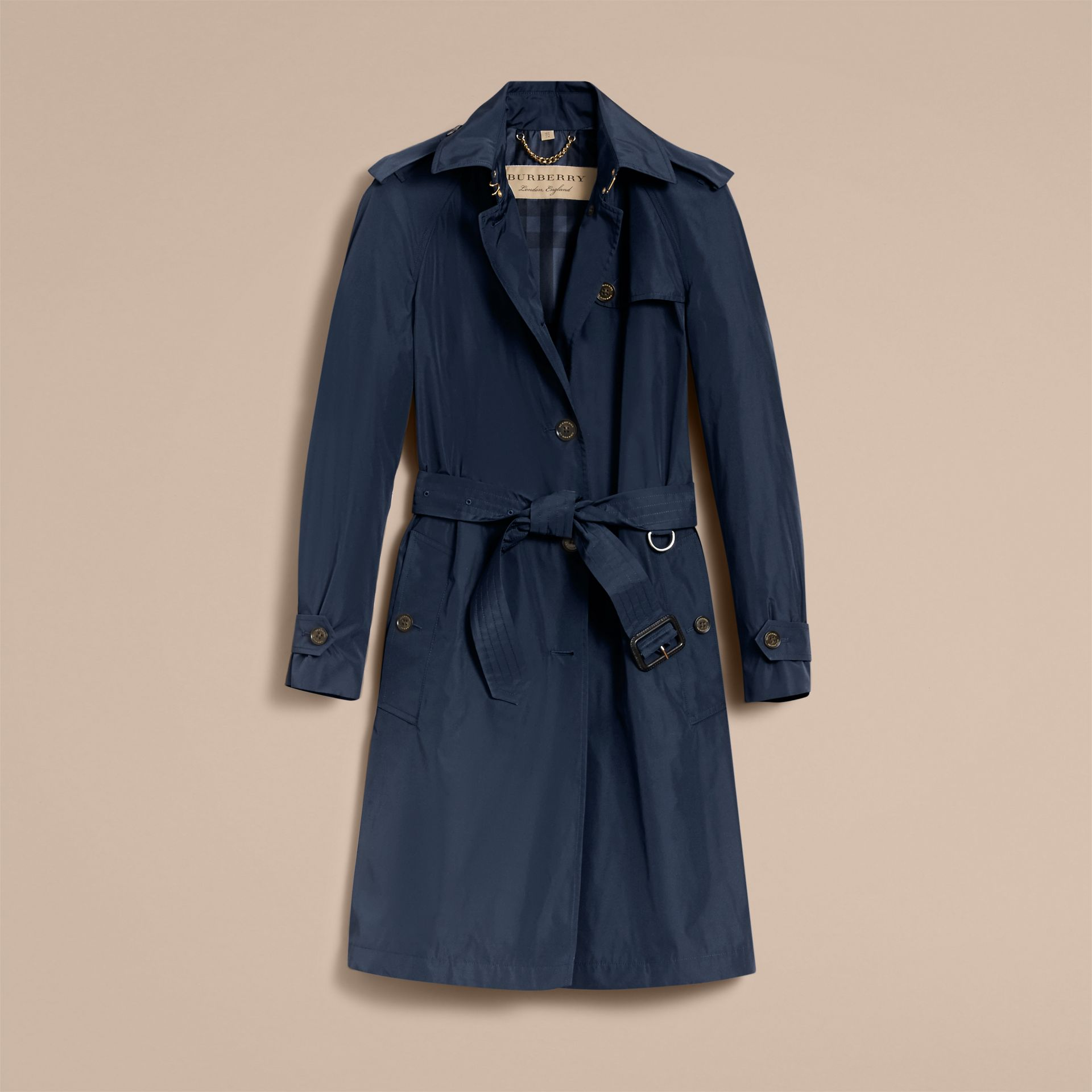 Single-breasted Technical Trench Coat Navy - gallery image 4