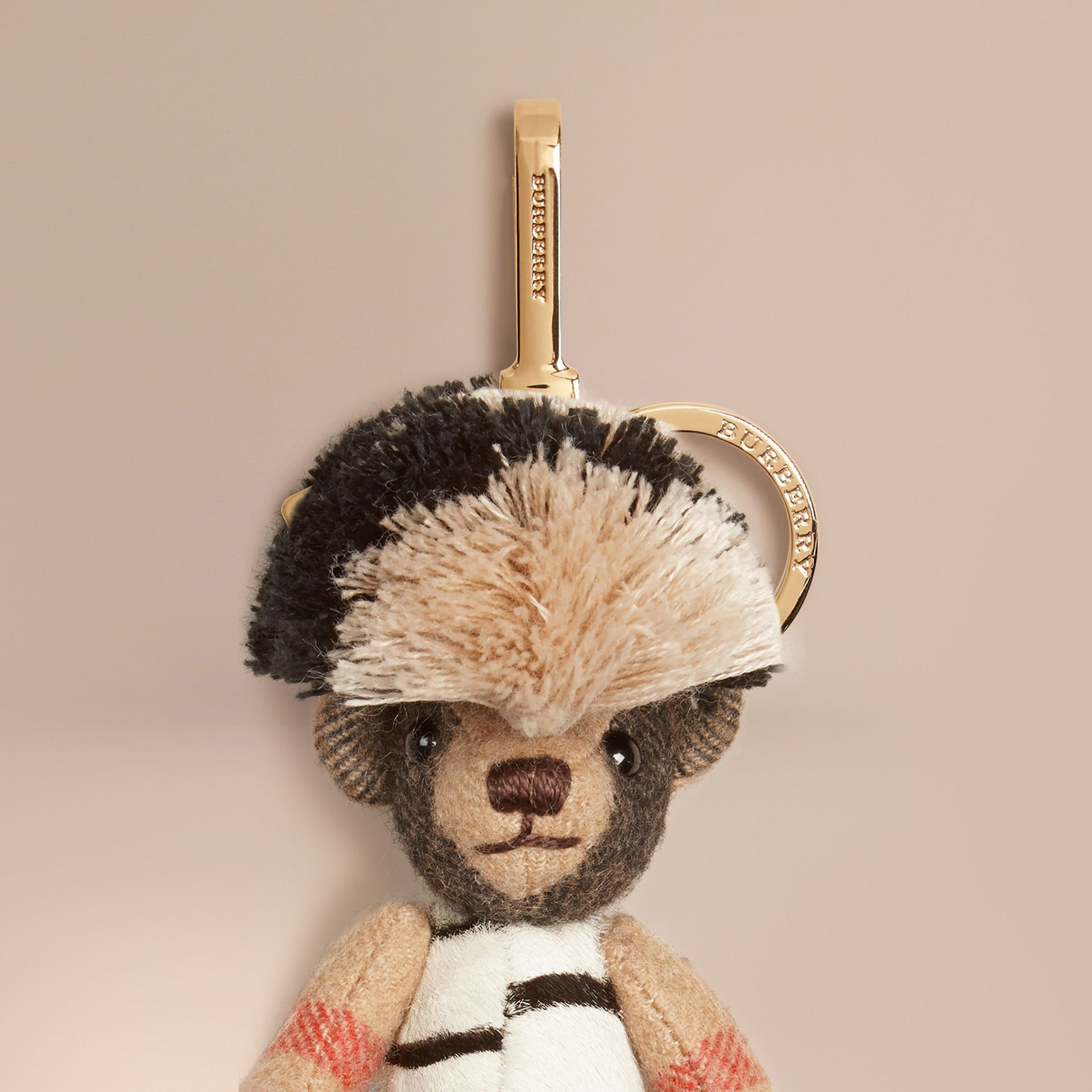Camel/natural Thomas Bear Charm in Cashmere and Calfskin - gallery image 2