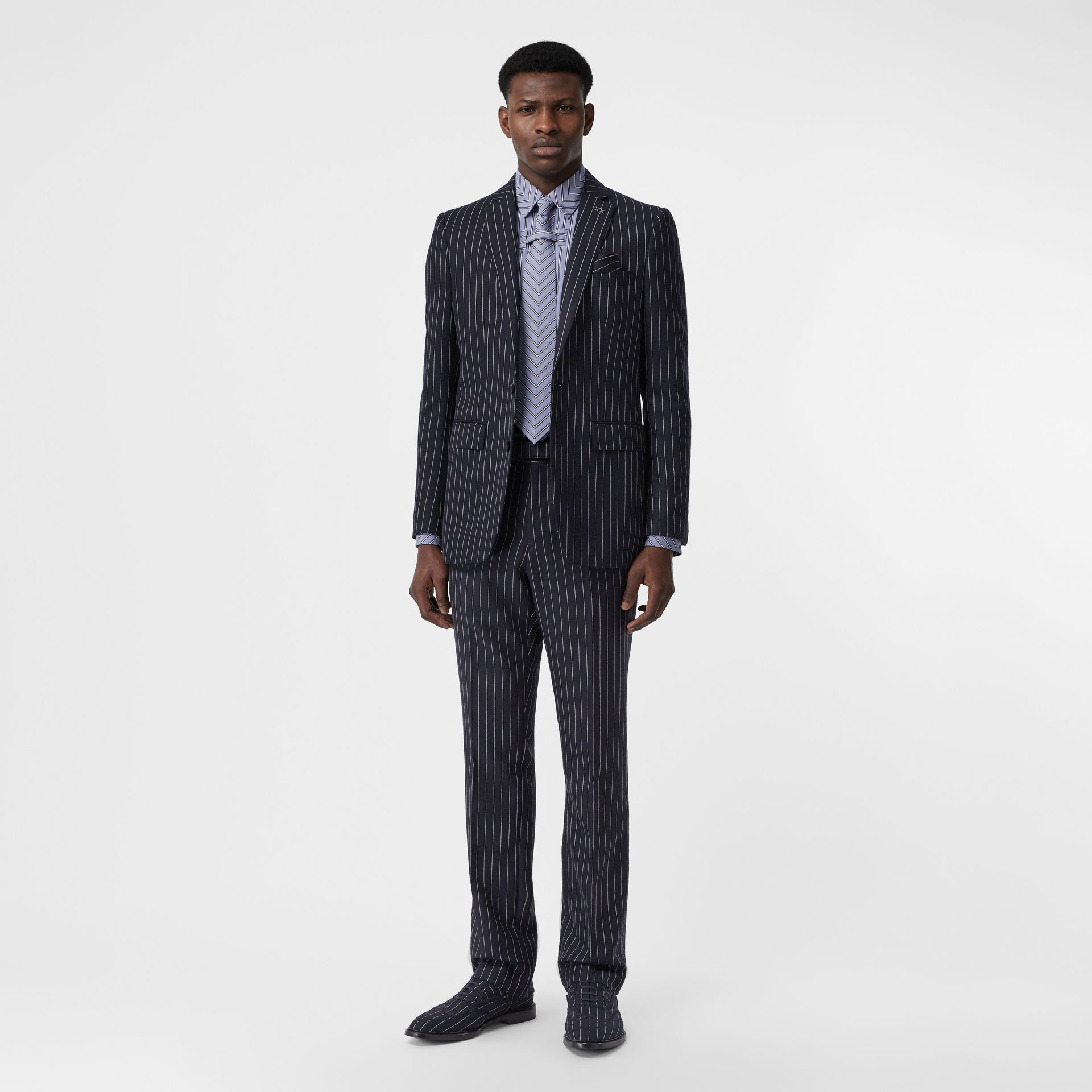 Classic Fit Pinstriped Wool Tailored Trousers in Dark Navy/white | Burberry Australia - gallery image 0