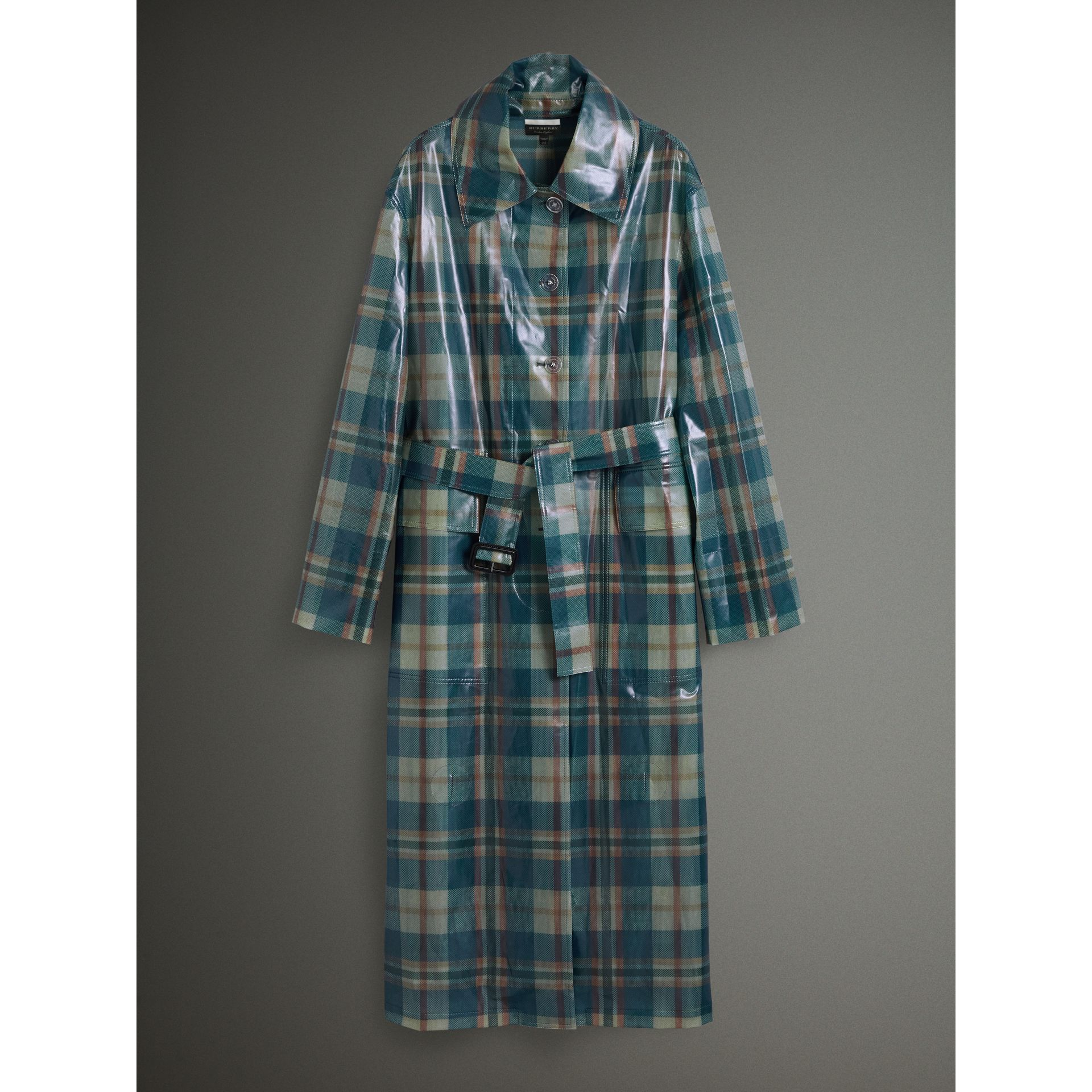 Tartan Soft-touch Plastic Oversized Car Coat in Blue/orange - Women | Burberry - gallery image 4