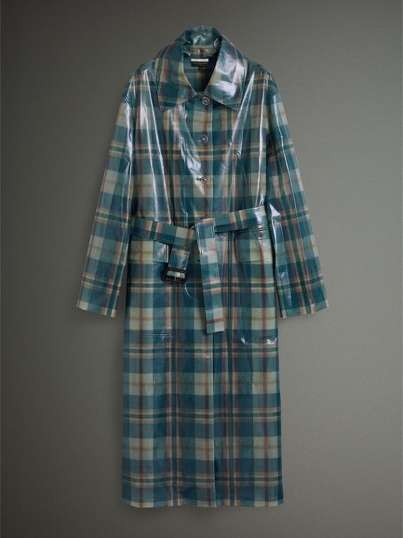 Tartan Soft-touch Plastic Oversized Car Coat in Blue/orange - Women | Burberry United Kingdom - cell image 3