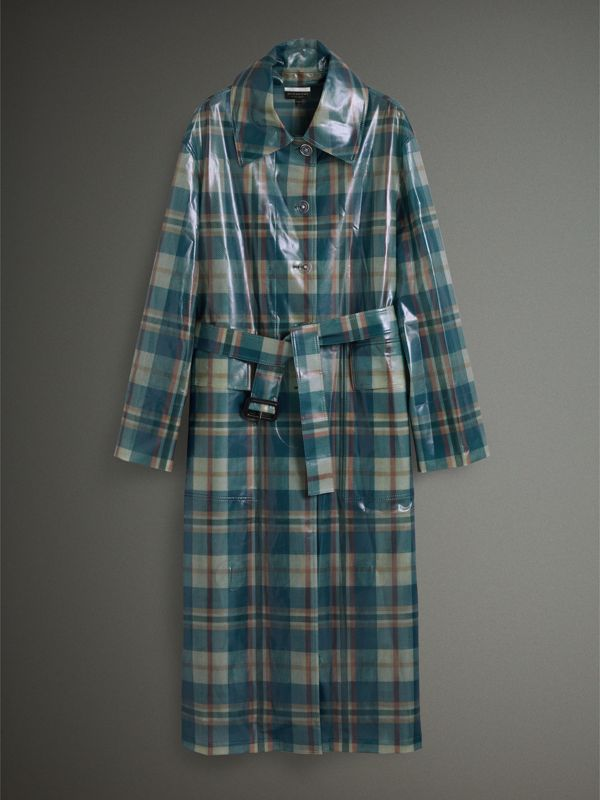 Tartan Soft-touch Plastic Oversized Car Coat in Blue/orange - Women | Burberry - cell image 3