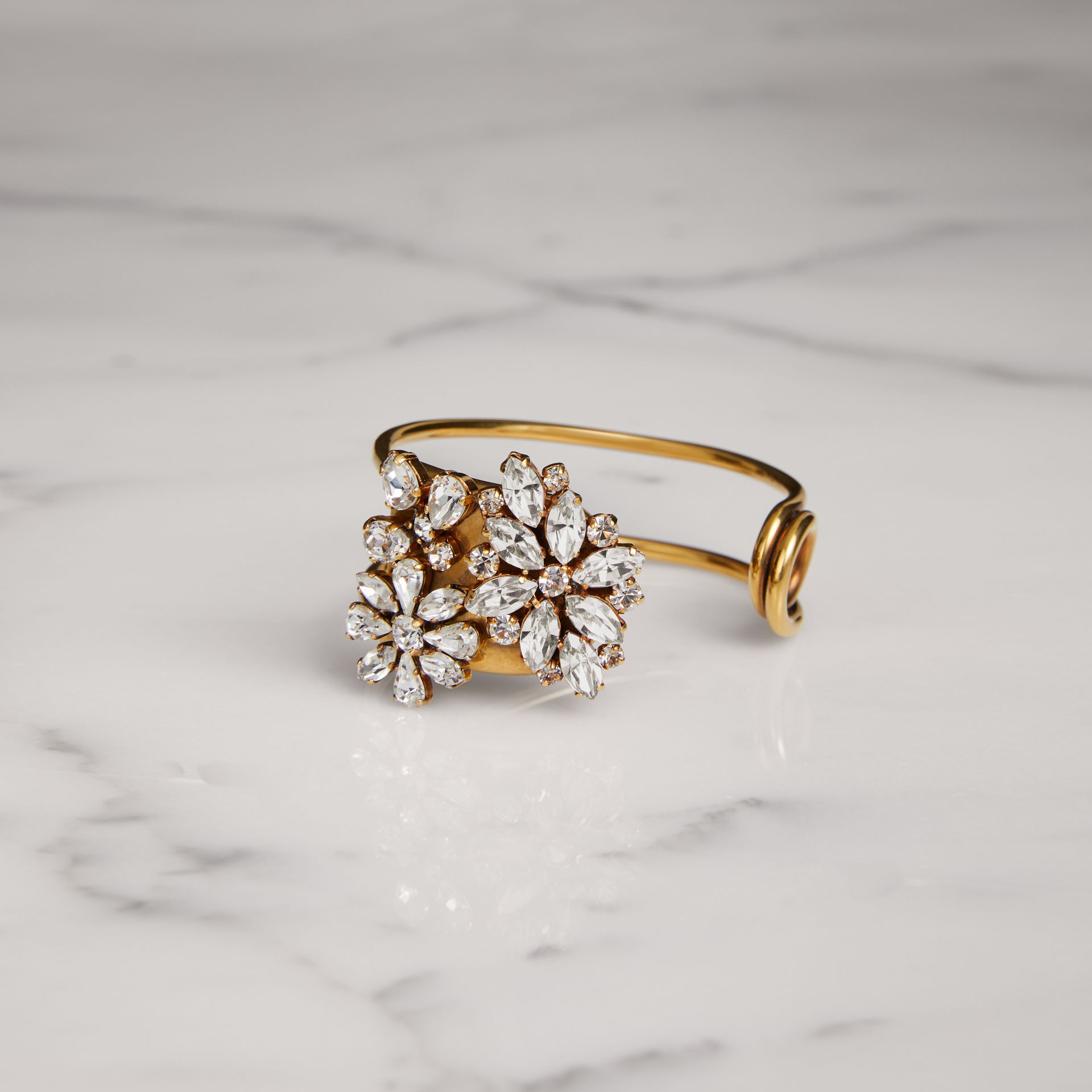 Crystal Daisy Gold-plated Cuff - Women | Burberry - gallery image 0