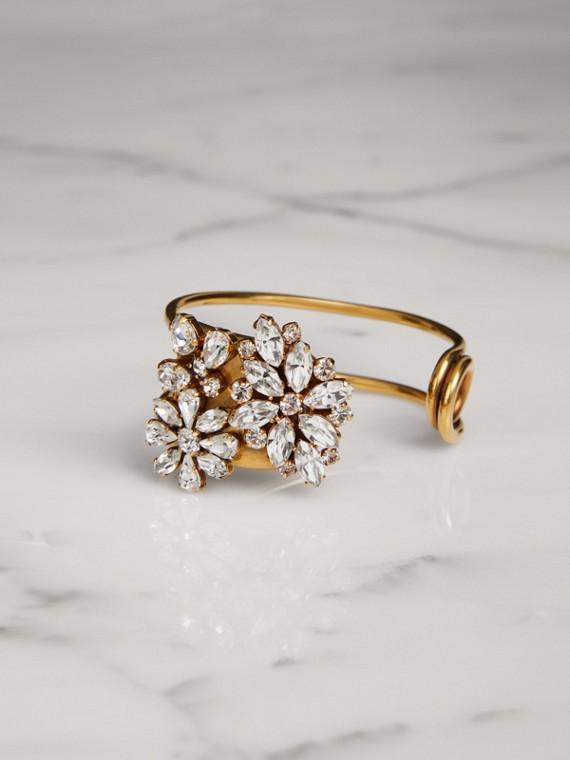 Crystal Daisy Brass Cuff