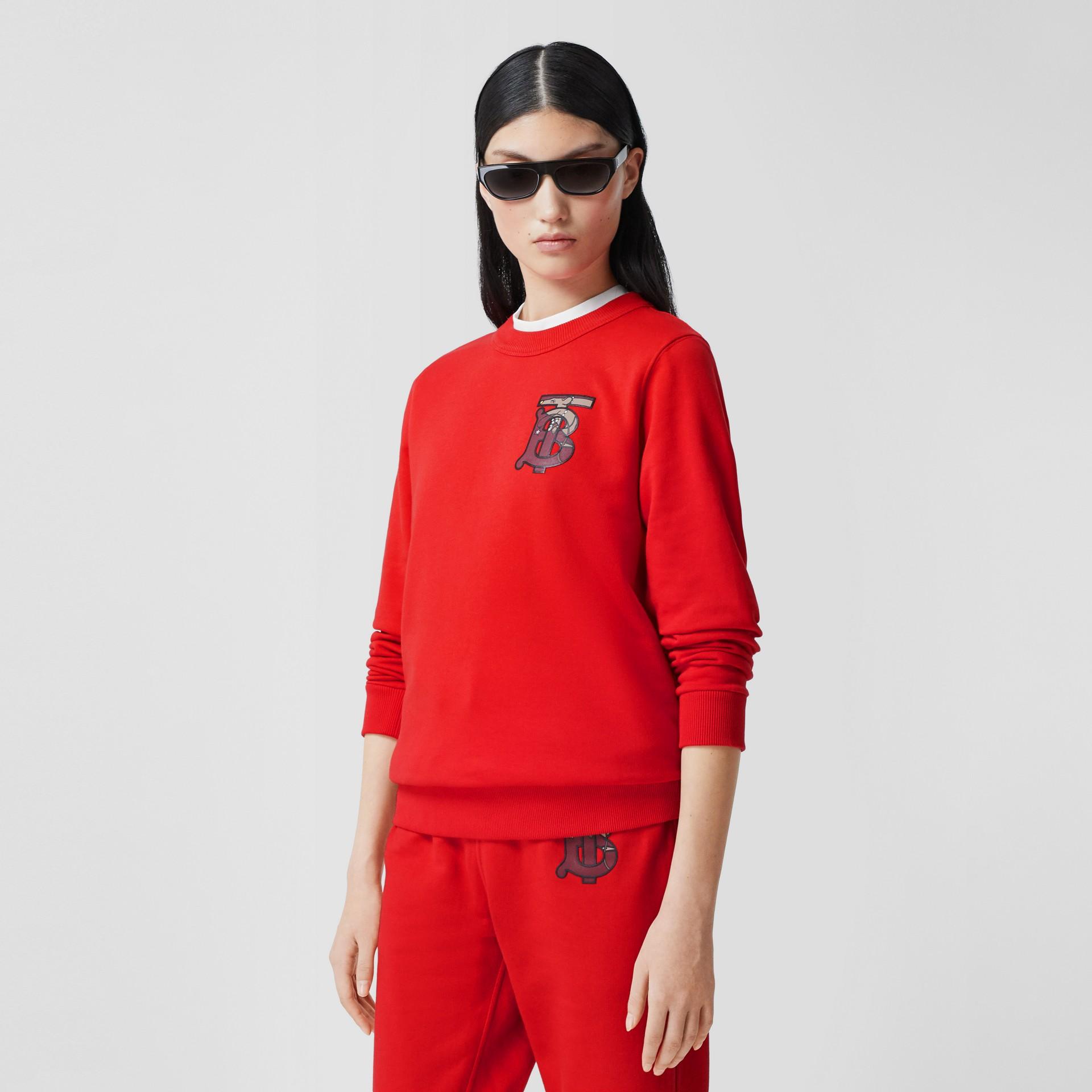 花押字圖案棉質寬版運動衫 (亮紅色) - 女款 | Burberry - 圖庫照片 4