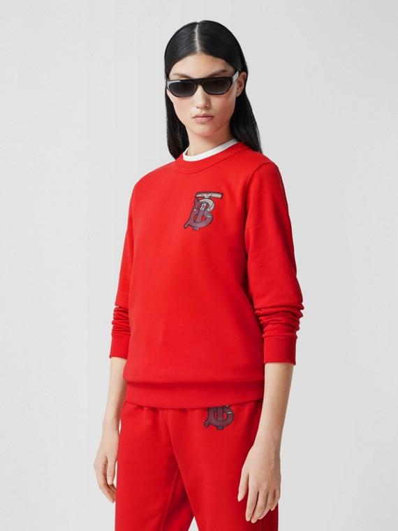 Monogram Motif Cotton Oversized Sweatshirt in Bright Red