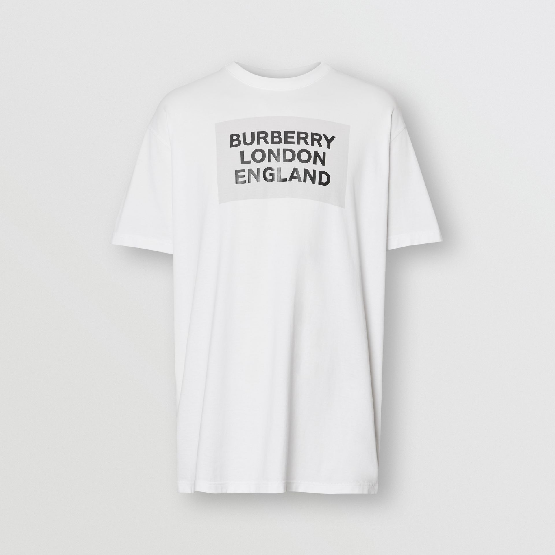 Logo Print Cotton Oversized T-shirt in Optic White | Burberry - gallery image 3
