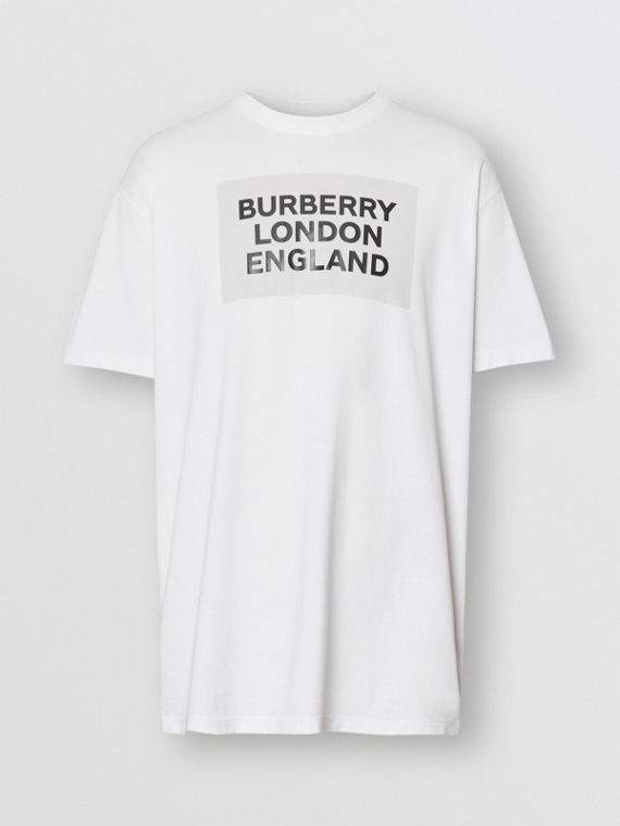 Logo Print Cotton Oversized T-shirt in Optic White