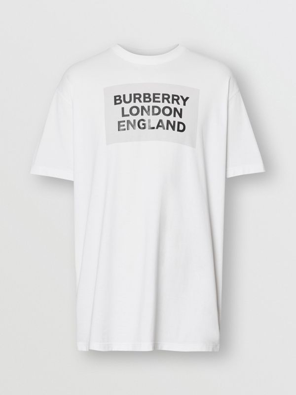 Logo Print Cotton Oversized T-shirt in Optic White | Burberry - cell image 3