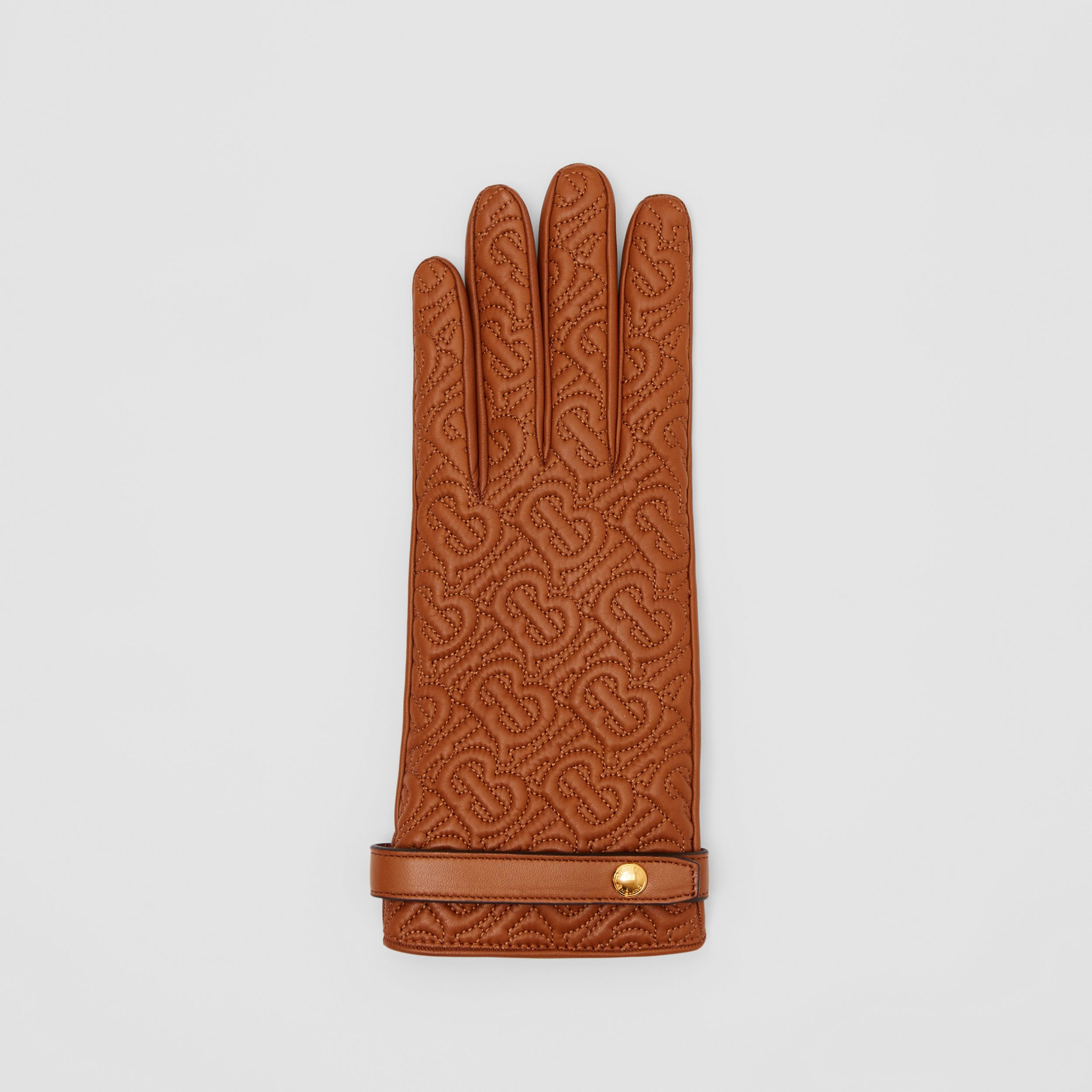Cashmere-lined Quilted Monogram Lambskin Gloves in Brown | Burberry - 3