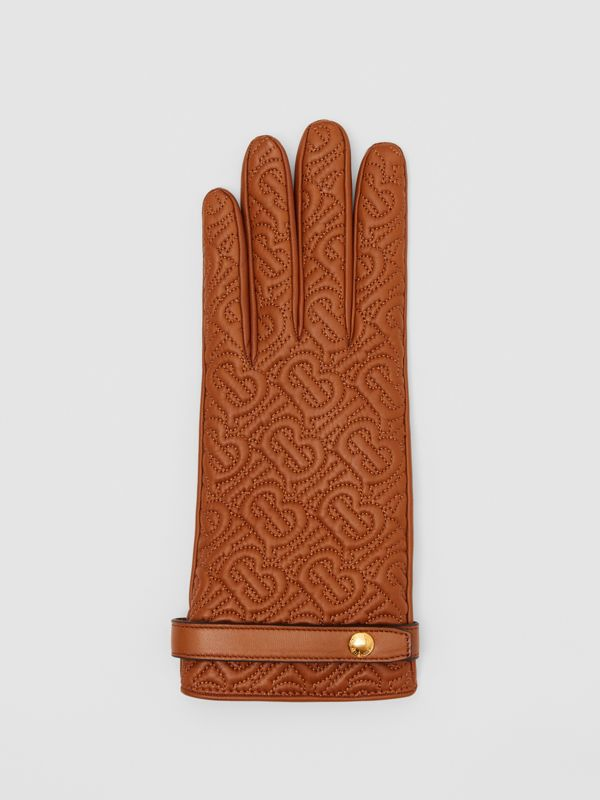 Cashmere-lined Quilted Monogram Lambskin Gloves in Brown | Burberry - cell image 2