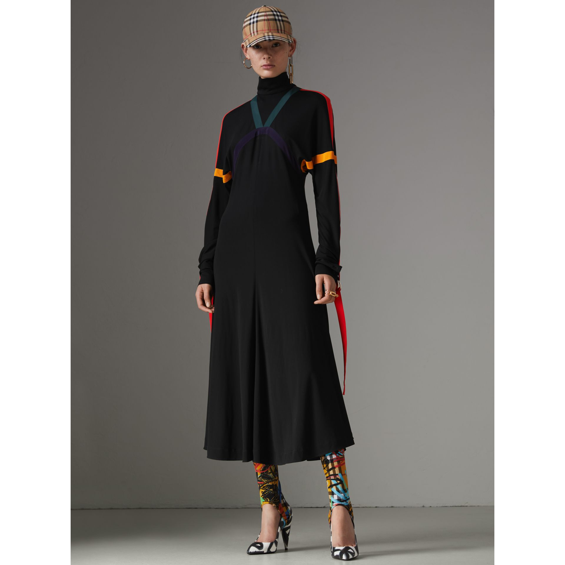 Colour Block Detail Jersey Turtleneck Dress in Black - Women | Burberry United States - gallery image 5