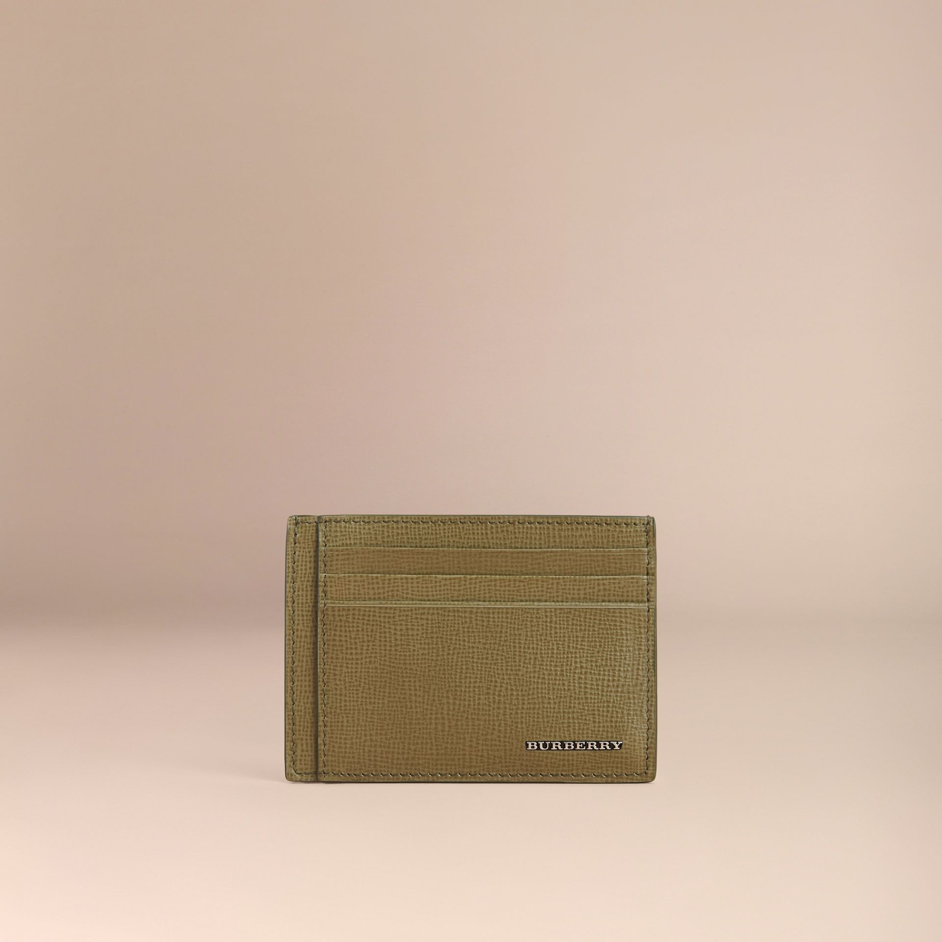 London Leather Card Case in Olive Green | Burberry - gallery image 1