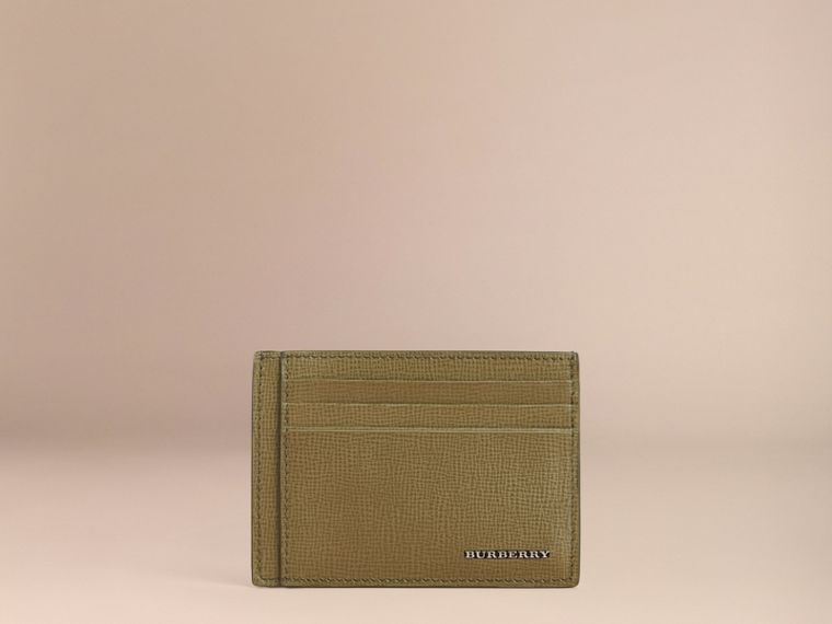 London Leather Card Case in Olive Green | Burberry - cell image 1