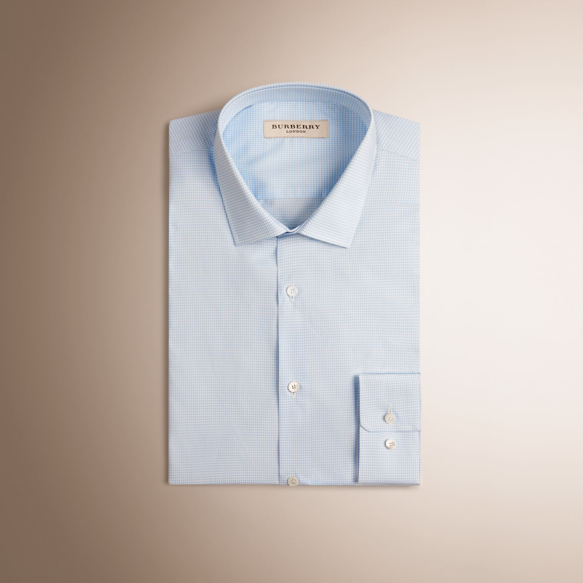 Slim Fit Gingham Cotton Poplin Shirt in City Blue - gallery image 4