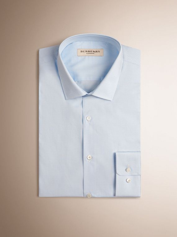 Slim Fit Gingham Cotton Poplin Shirt in City Blue - cell image 3