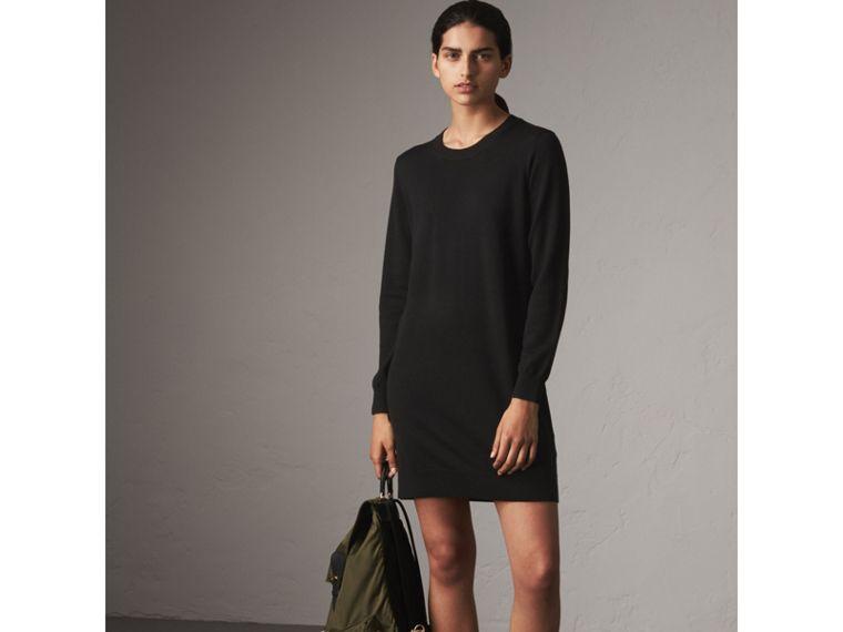 Check Elbow Detail Merino Wool Sweater Dress in Black - Women | Burberry - cell image 4