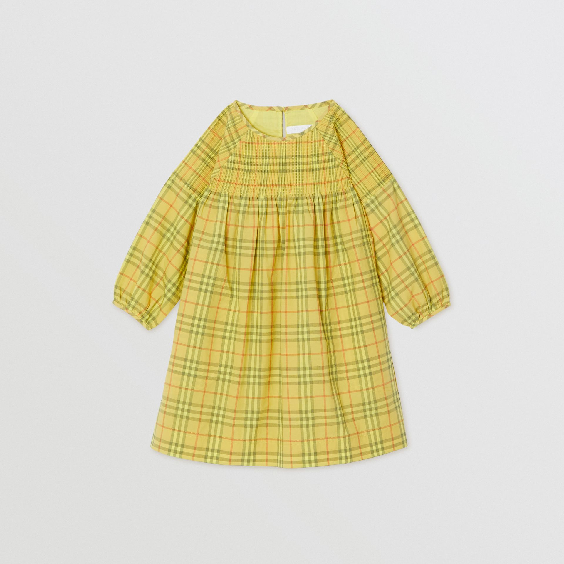 Smocked Check Cotton Dress in Citrus Yellow | Burberry - gallery image 0