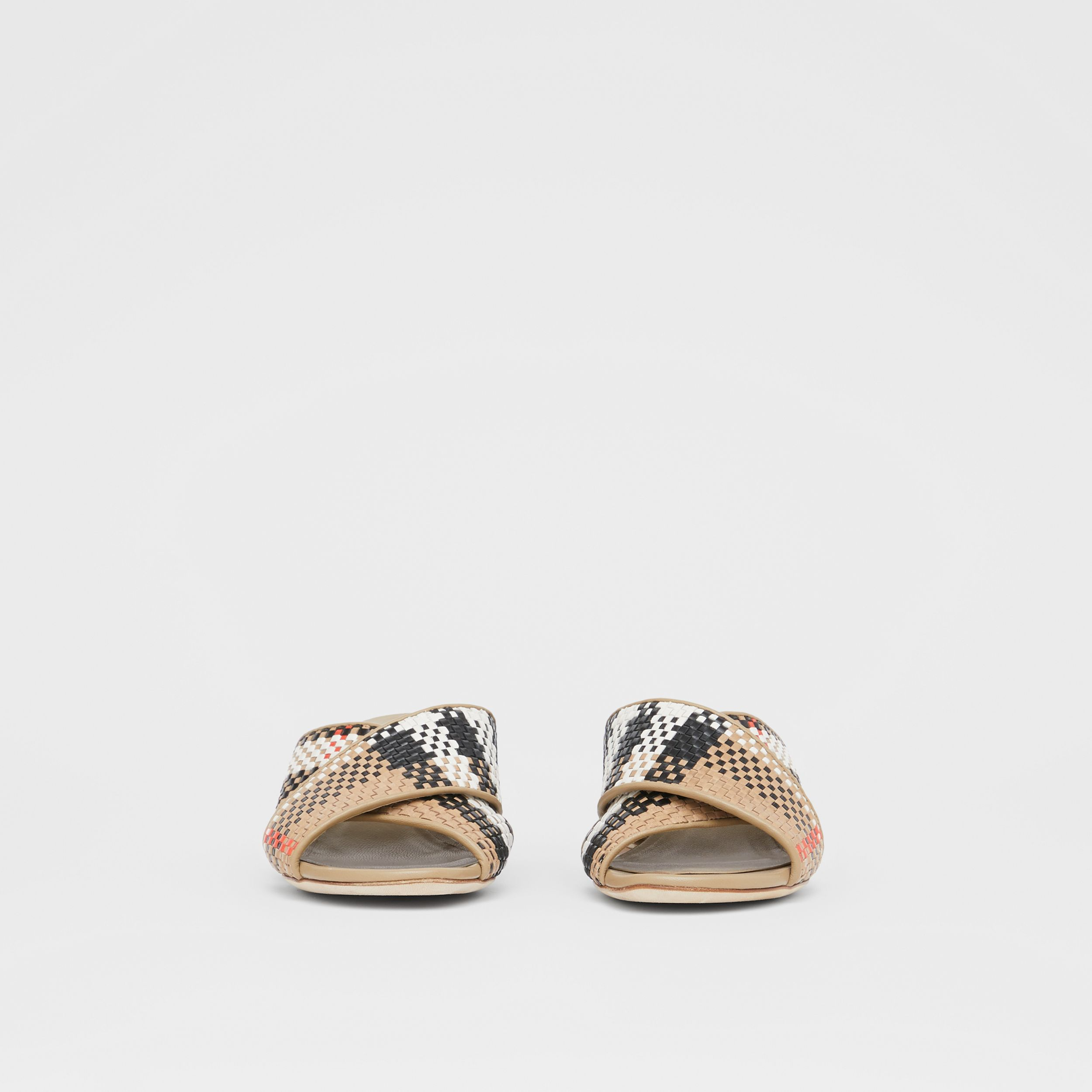 Latticed Leather Block-heel Sandals in Archive Beige - Women | Burberry - 4