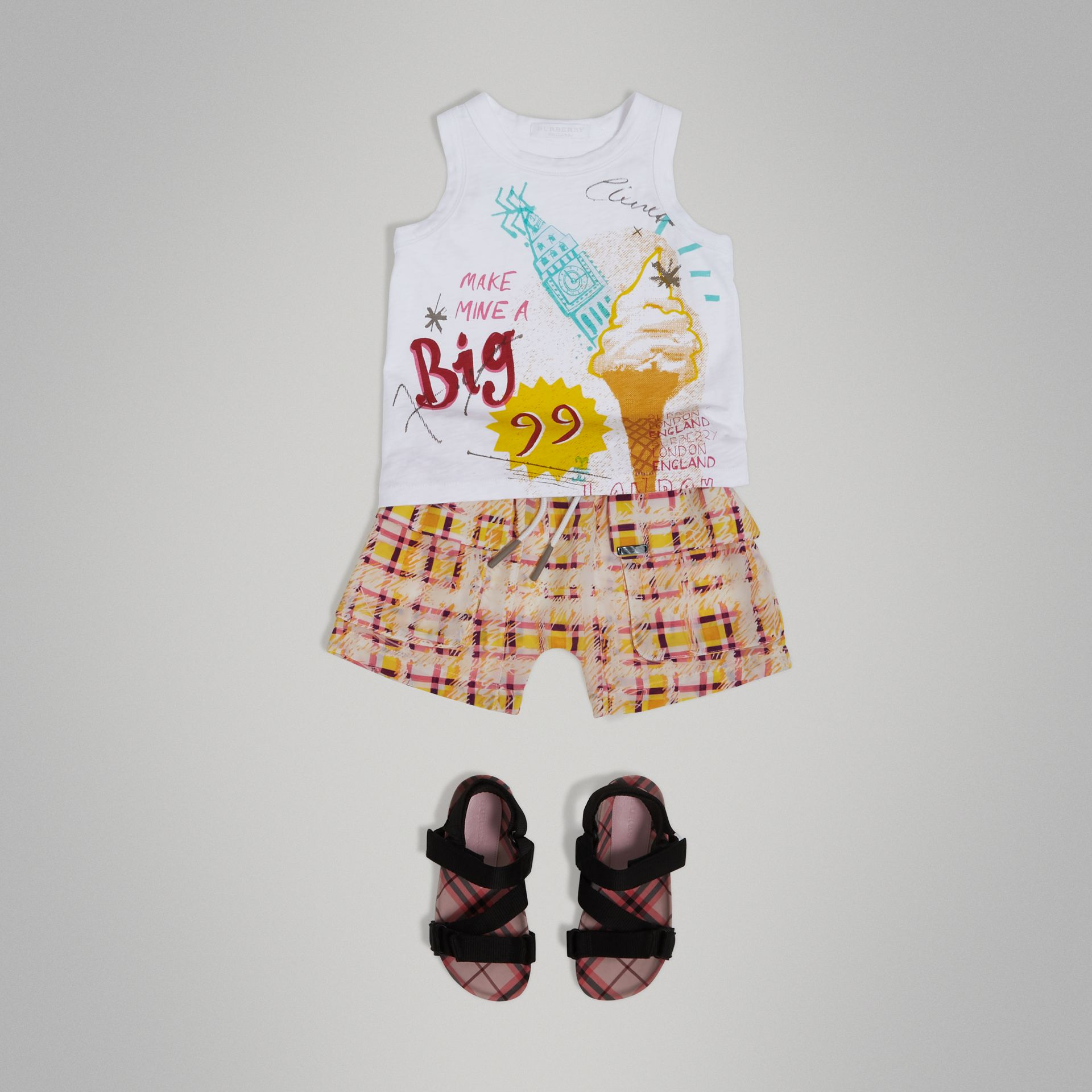 Ice-cream Print Cotton Jersey Vest in White - Girl | Burberry - gallery image 0
