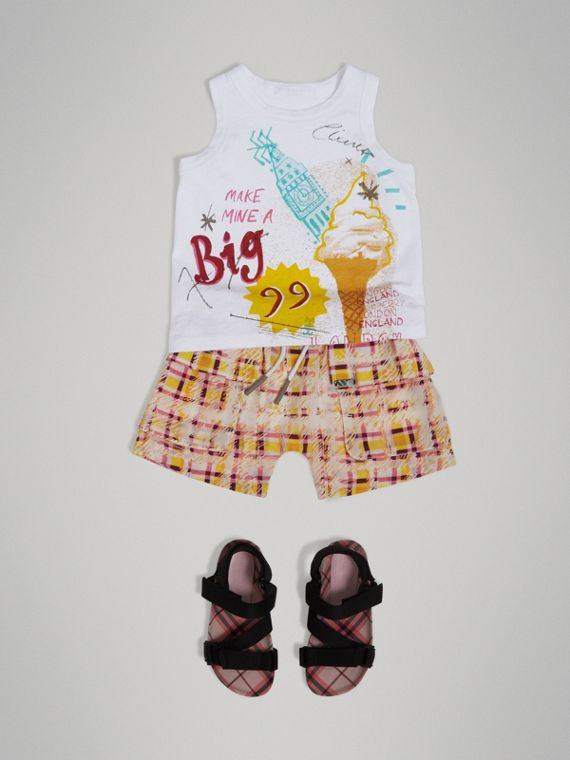 Ice-cream Print Cotton Jersey Vest in White