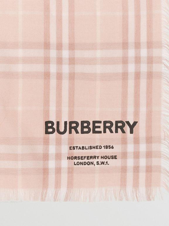 Embroidered Vintage Check Lightweight Cashmere Scarf in Soft Peach | Burberry - cell image 1